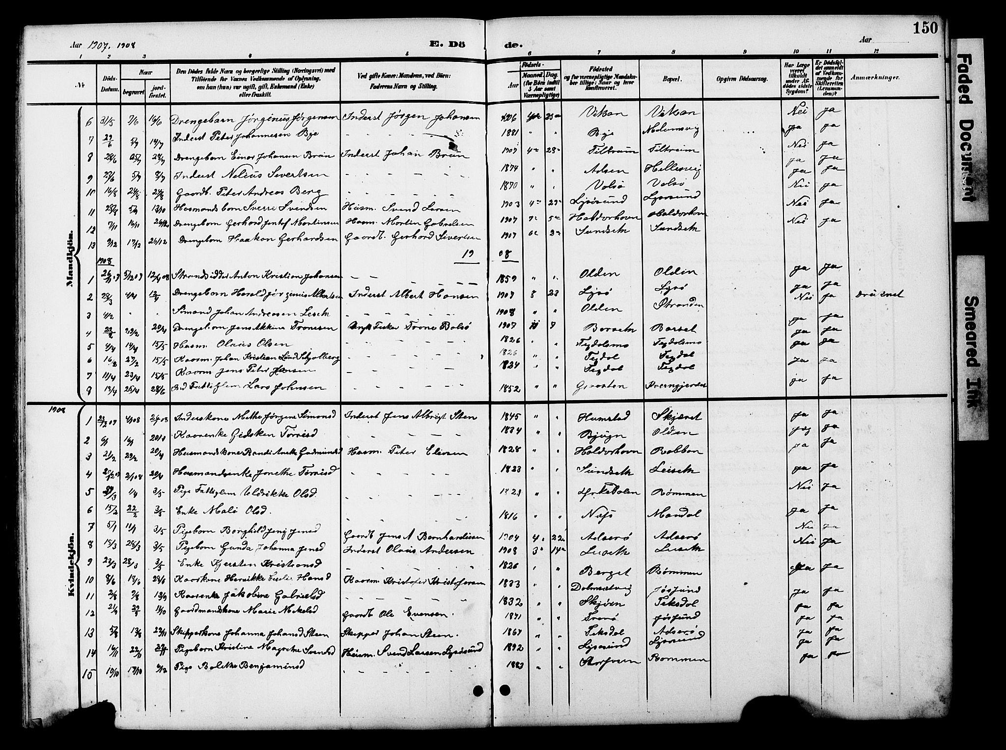 SAT, Ministerialprotokoller, klokkerbøker og fødselsregistre - Sør-Trøndelag, 654/L0666: Klokkerbok nr. 654C02, 1901-1925, s. 150