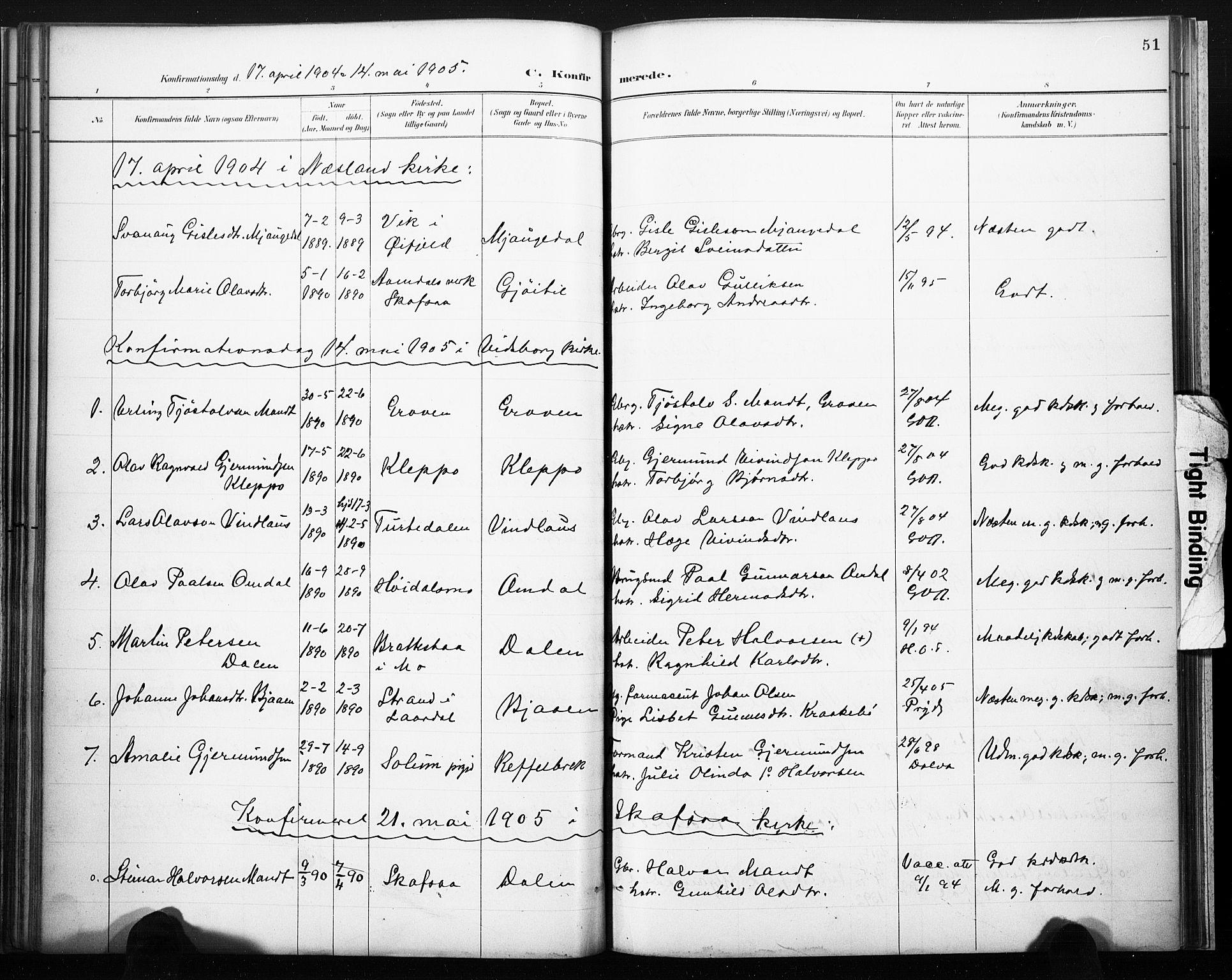 SAKO, Lårdal kirkebøker, F/Fb/L0002: Ministerialbok nr. II 2, 1887-1918, s. 51