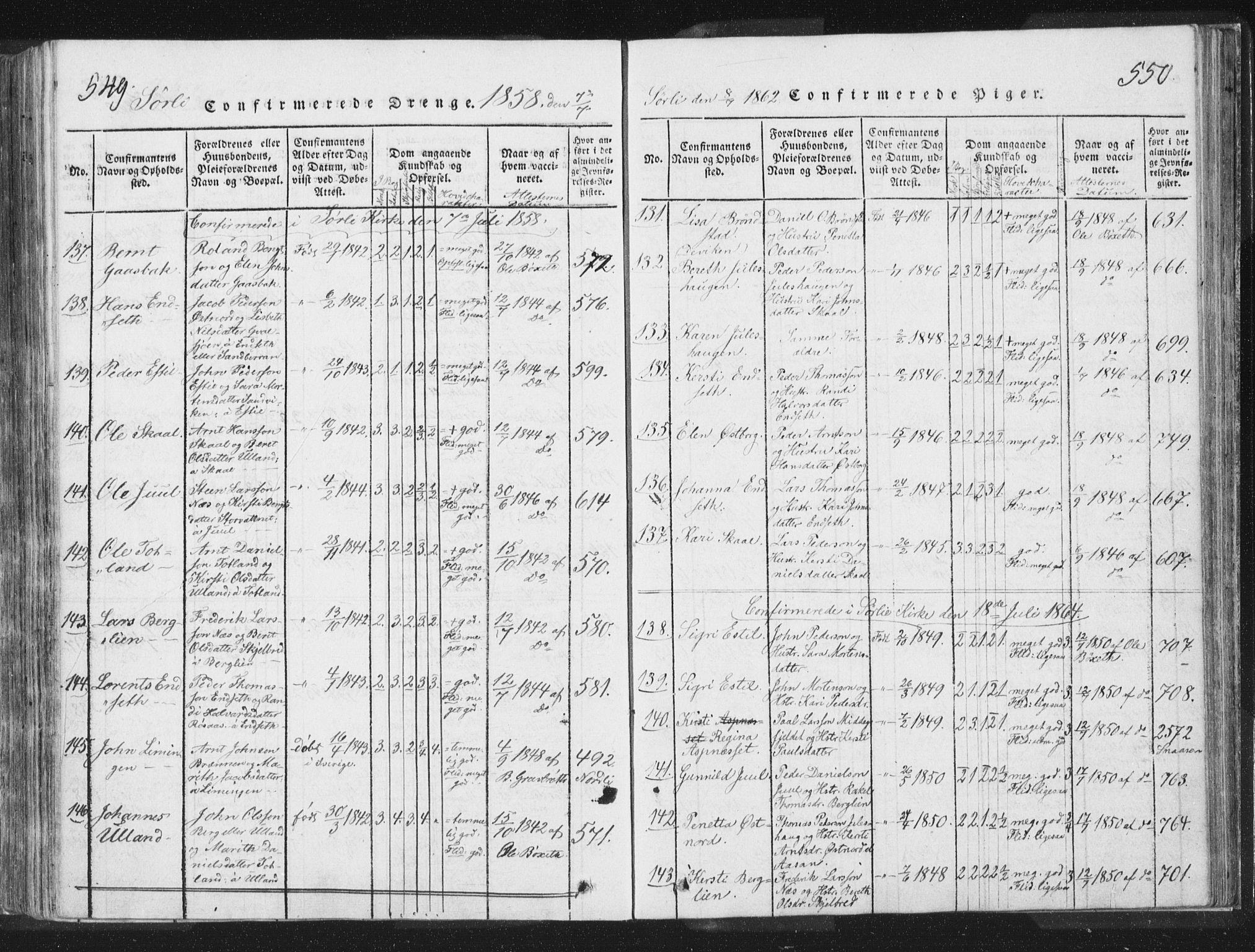 SAT, Ministerialprotokoller, klokkerbøker og fødselsregistre - Nord-Trøndelag, 755/L0491: Ministerialbok nr. 755A01 /2, 1817-1864, s. 549-550