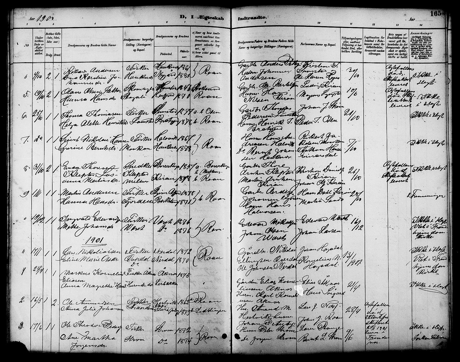 SAT, Ministerialprotokoller, klokkerbøker og fødselsregistre - Sør-Trøndelag, 657/L0716: Klokkerbok nr. 657C03, 1889-1904, s. 165