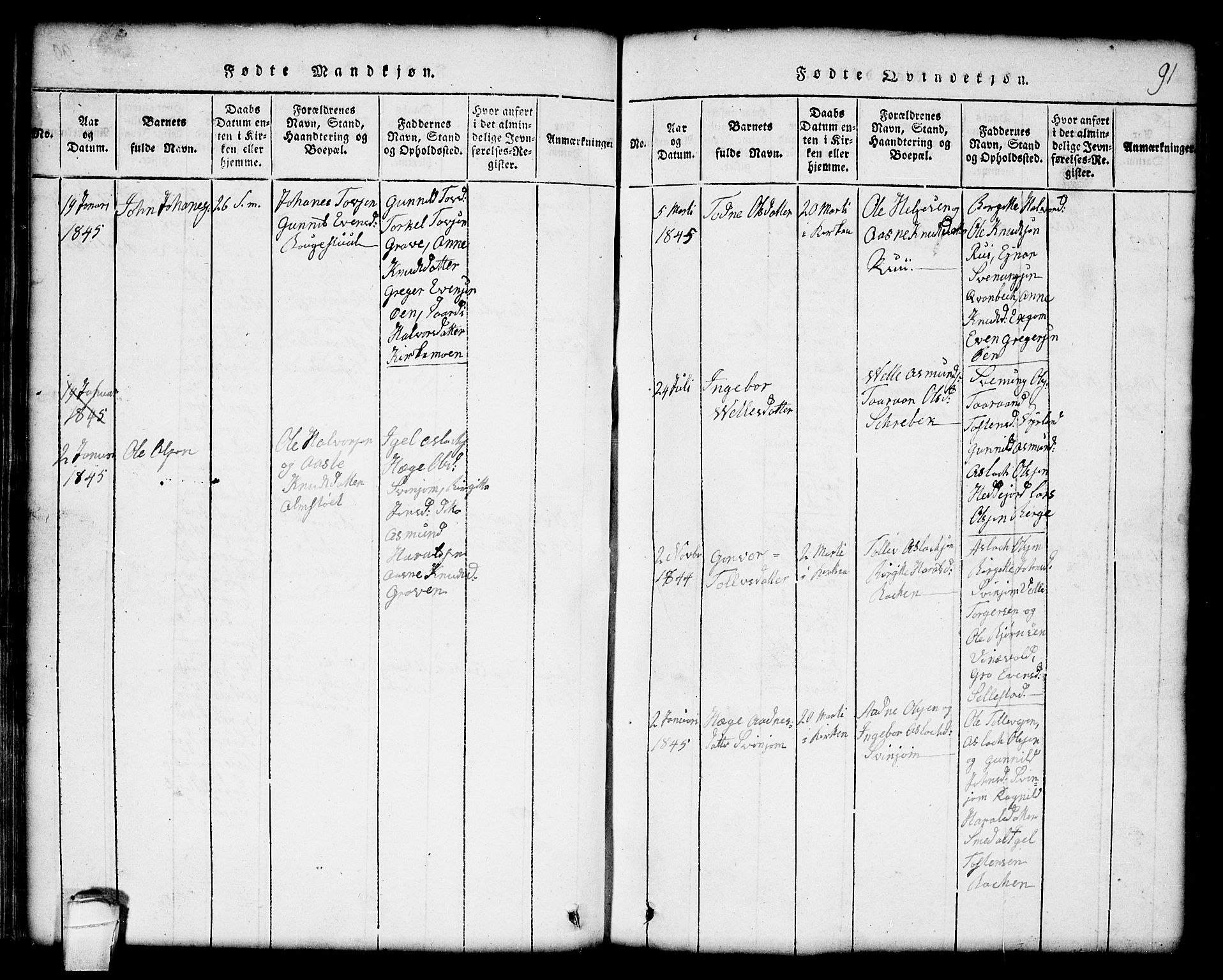 SAKO, Seljord kirkebøker, G/Gc/L0001: Klokkerbok nr. III 1, 1815-1849, s. 91