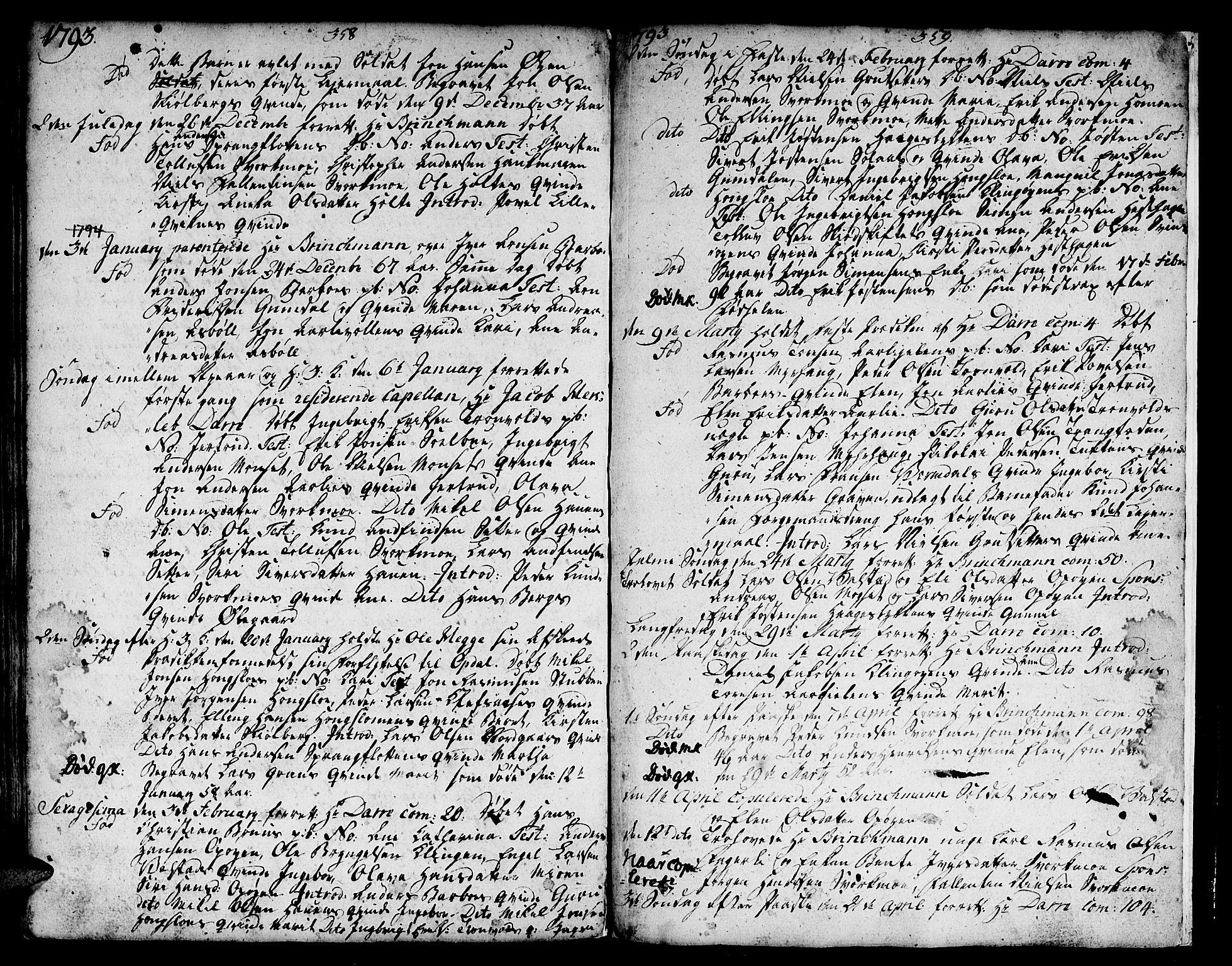 SAT, Ministerialprotokoller, klokkerbøker og fødselsregistre - Sør-Trøndelag, 671/L0840: Ministerialbok nr. 671A02, 1756-1794, s. 358-359