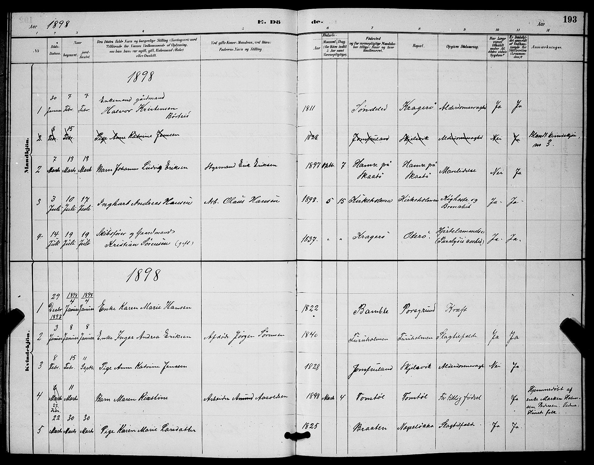 SAKO, Skåtøy kirkebøker, G/Ga/L0003: Klokkerbok nr. I 3, 1884-1898, s. 193