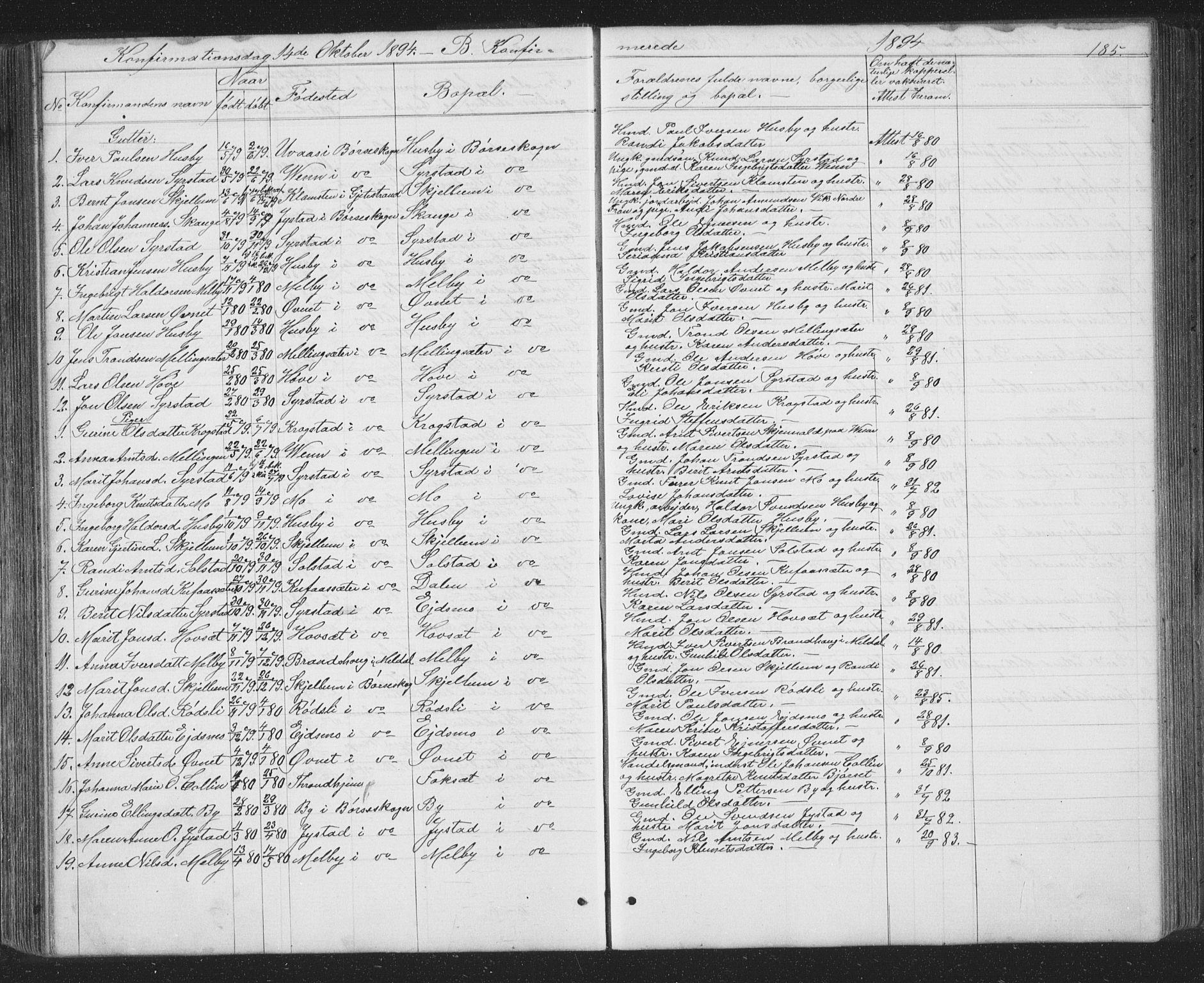 SAT, Ministerialprotokoller, klokkerbøker og fødselsregistre - Sør-Trøndelag, 667/L0798: Klokkerbok nr. 667C03, 1867-1929, s. 185