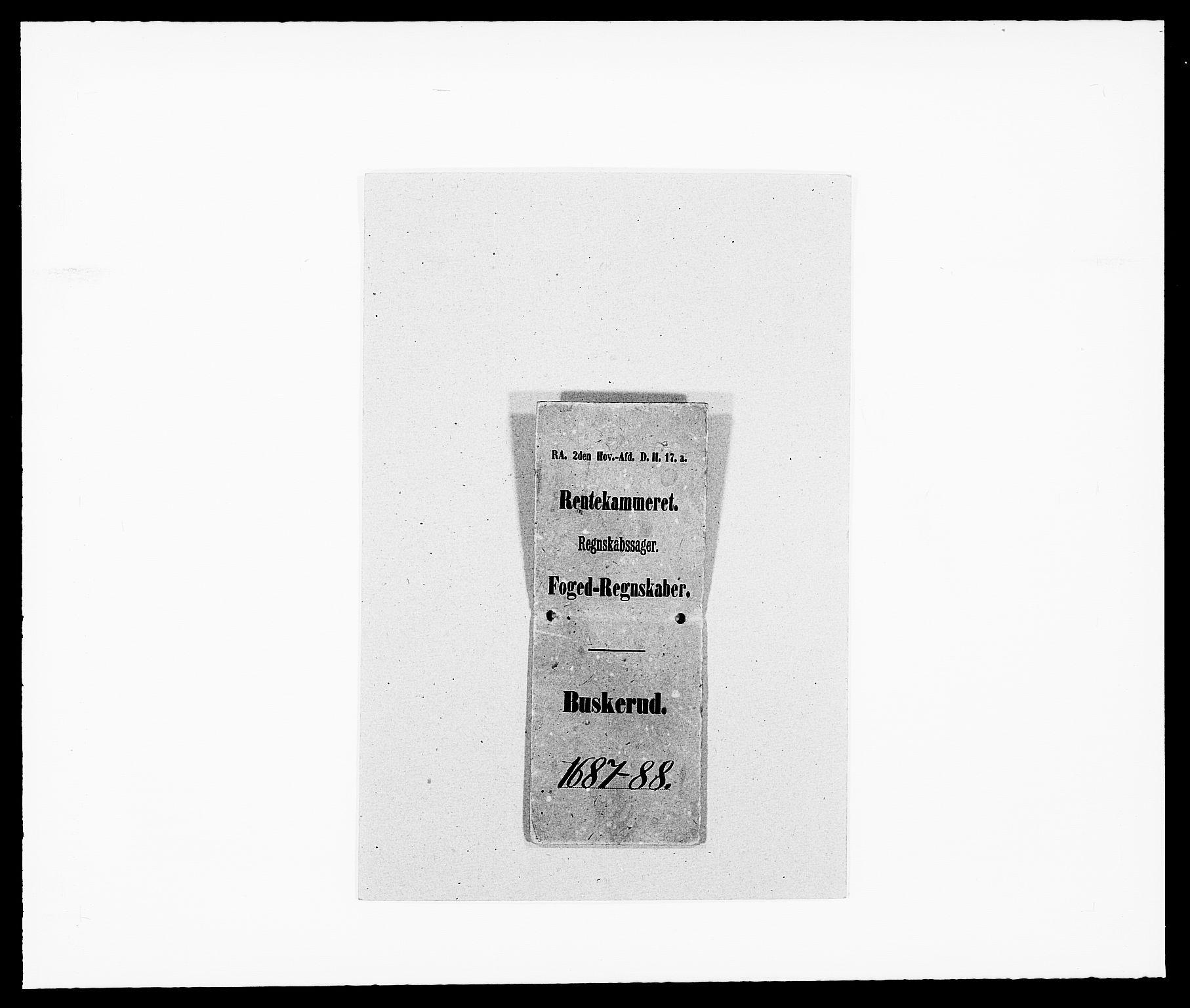 RA, Rentekammeret inntil 1814, Reviderte regnskaper, Fogderegnskap, R25/L1679: Fogderegnskap Buskerud, 1687-1688, s. 1