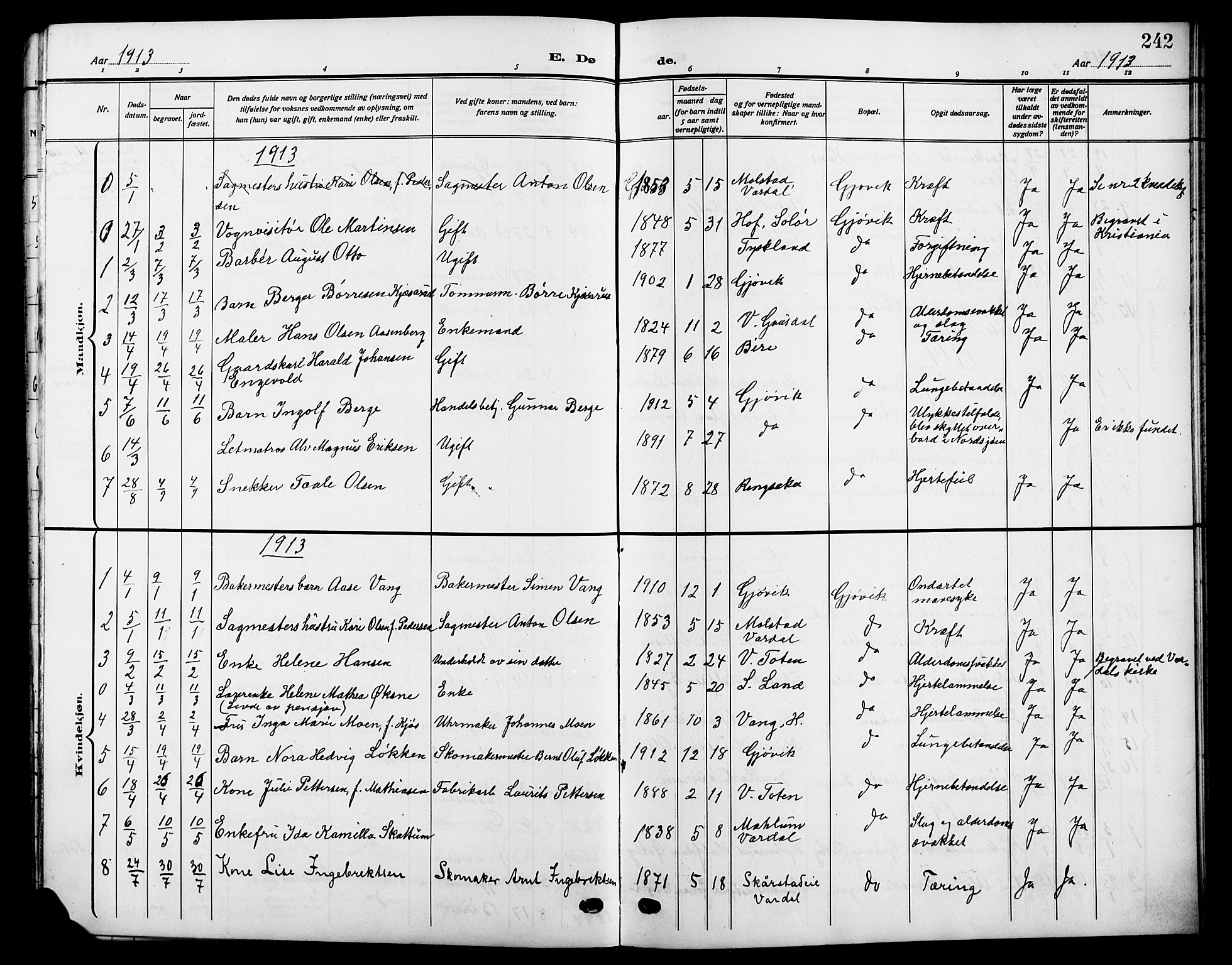 SAH, Vardal prestekontor, H/Ha/Hab/L0014: Klokkerbok nr. 14, 1911-1922, s. 242