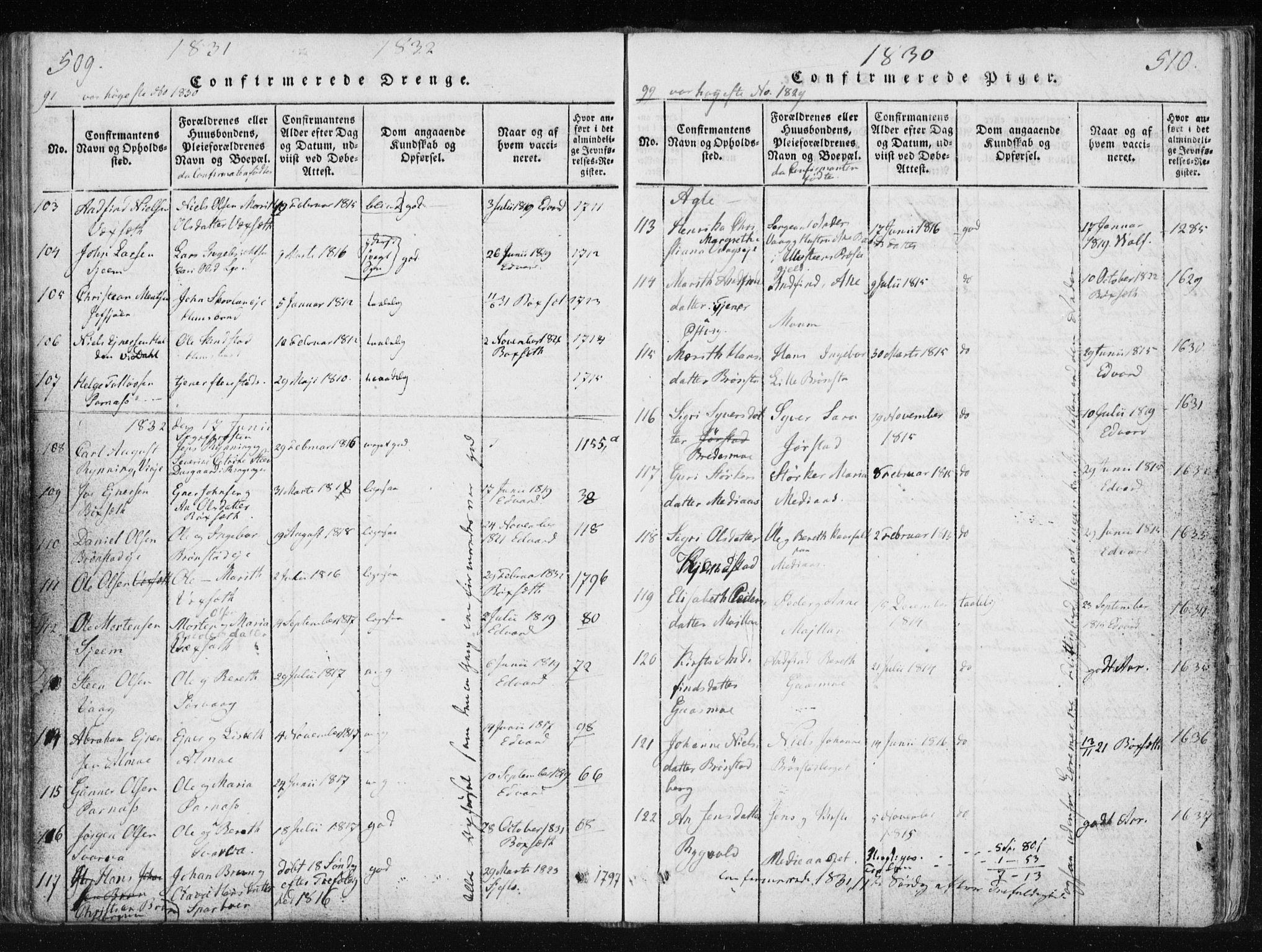 SAT, Ministerialprotokoller, klokkerbøker og fødselsregistre - Nord-Trøndelag, 749/L0469: Ministerialbok nr. 749A03, 1817-1857, s. 509-510