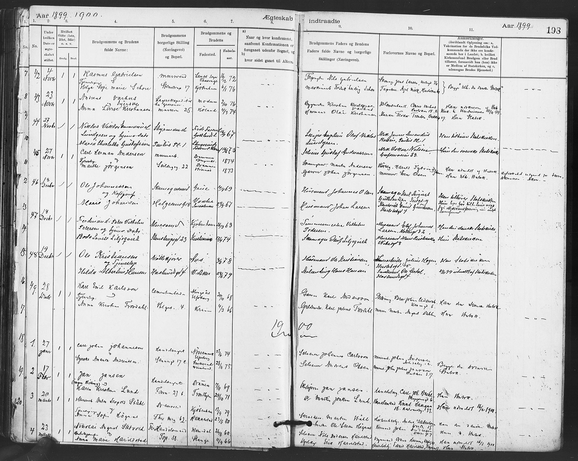 SAO, Paulus prestekontor Kirkebøker, F/Fa/L0012: Ministerialbok nr. 12, 1897-1908, s. 198