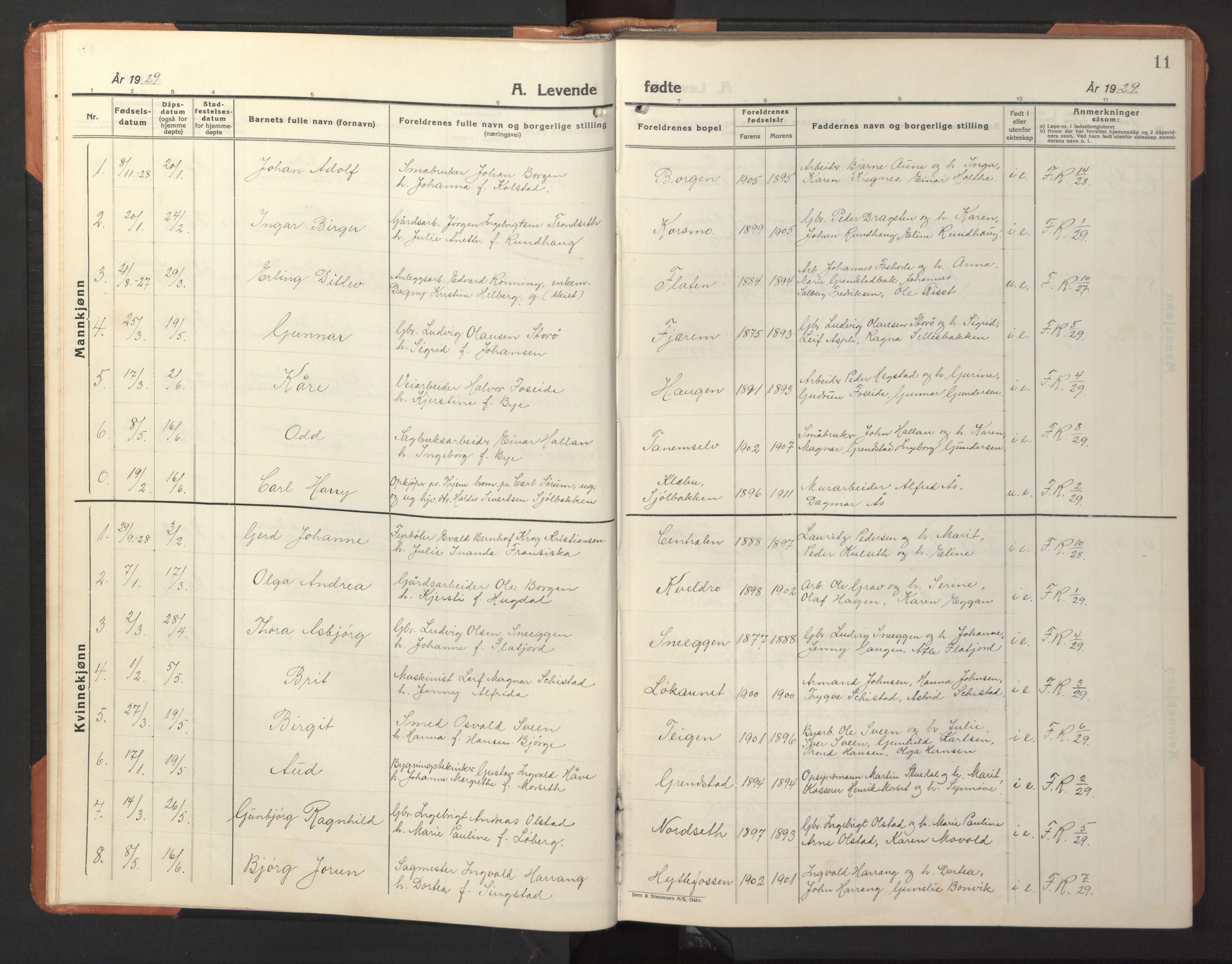 SAT, Ministerialprotokoller, klokkerbøker og fødselsregistre - Sør-Trøndelag, 618/L0454: Klokkerbok nr. 618C05, 1926-1946, s. 11