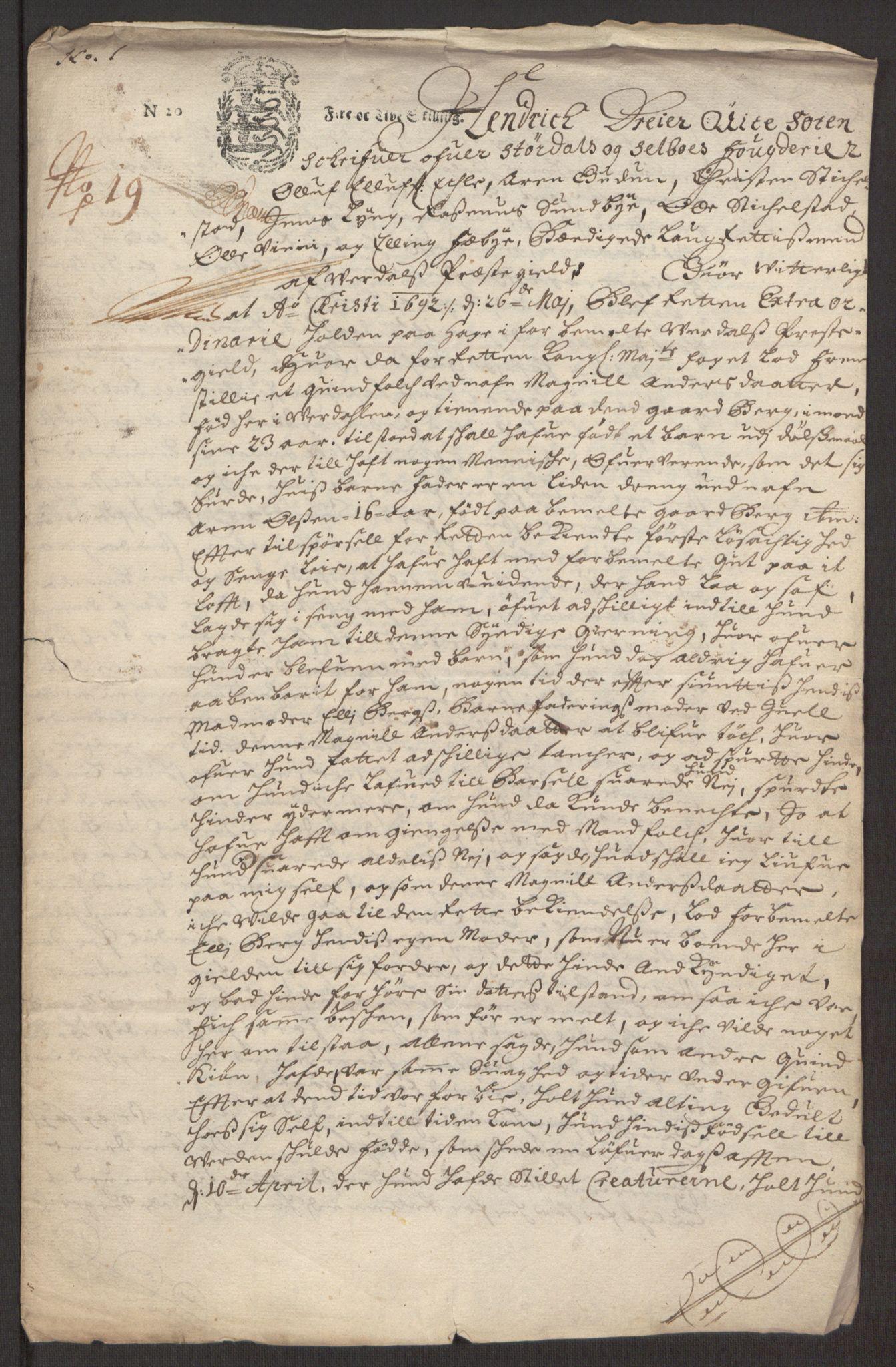 RA, Rentekammeret inntil 1814, Reviderte regnskaper, Fogderegnskap, R62/L4185: Fogderegnskap Stjørdal og Verdal, 1692, s. 333