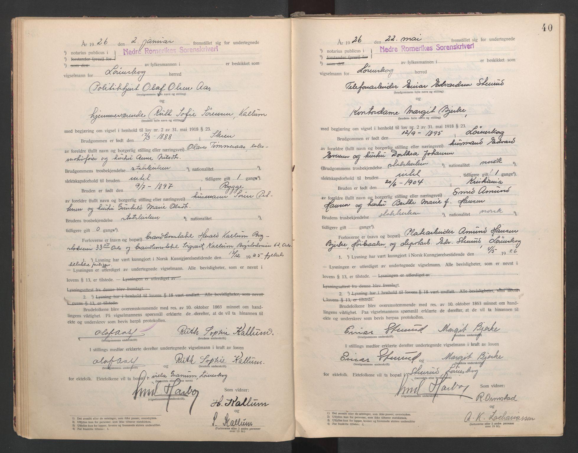SAO, Nedre Romerike sorenskriveri, L/Lb/L0001: Vigselsbok - borgerlige vielser, 1920-1935, s. 40