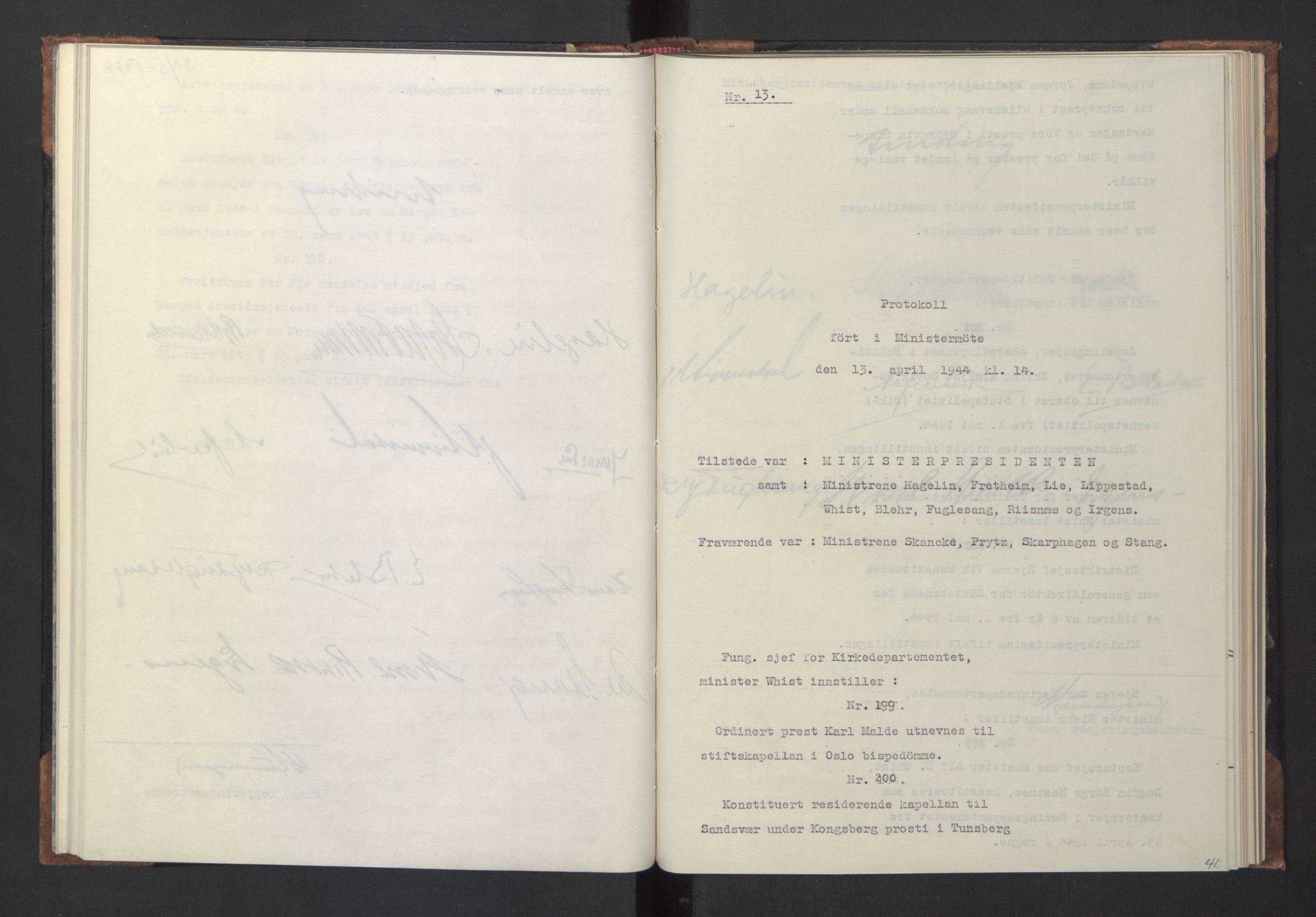 RA, NS-administrasjonen 1940-1945 (Statsrådsekretariatet, de kommisariske statsråder mm), D/Da/L0005: Protokoll fra ministermøter, 1944, s. 40b-41a