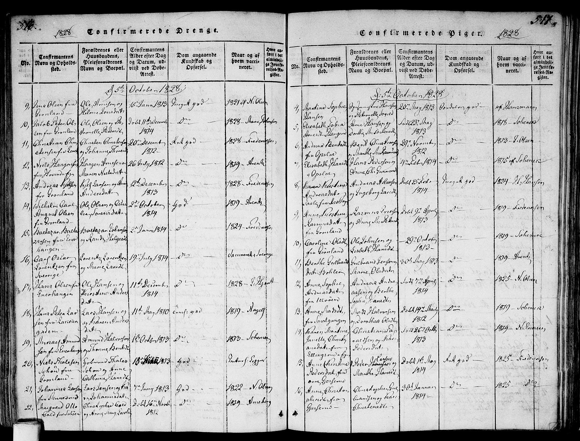 SAO, Gamlebyen prestekontor Kirkebøker, F/Fa/L0002: Ministerialbok nr. 2, 1817-1829, s. 516-517