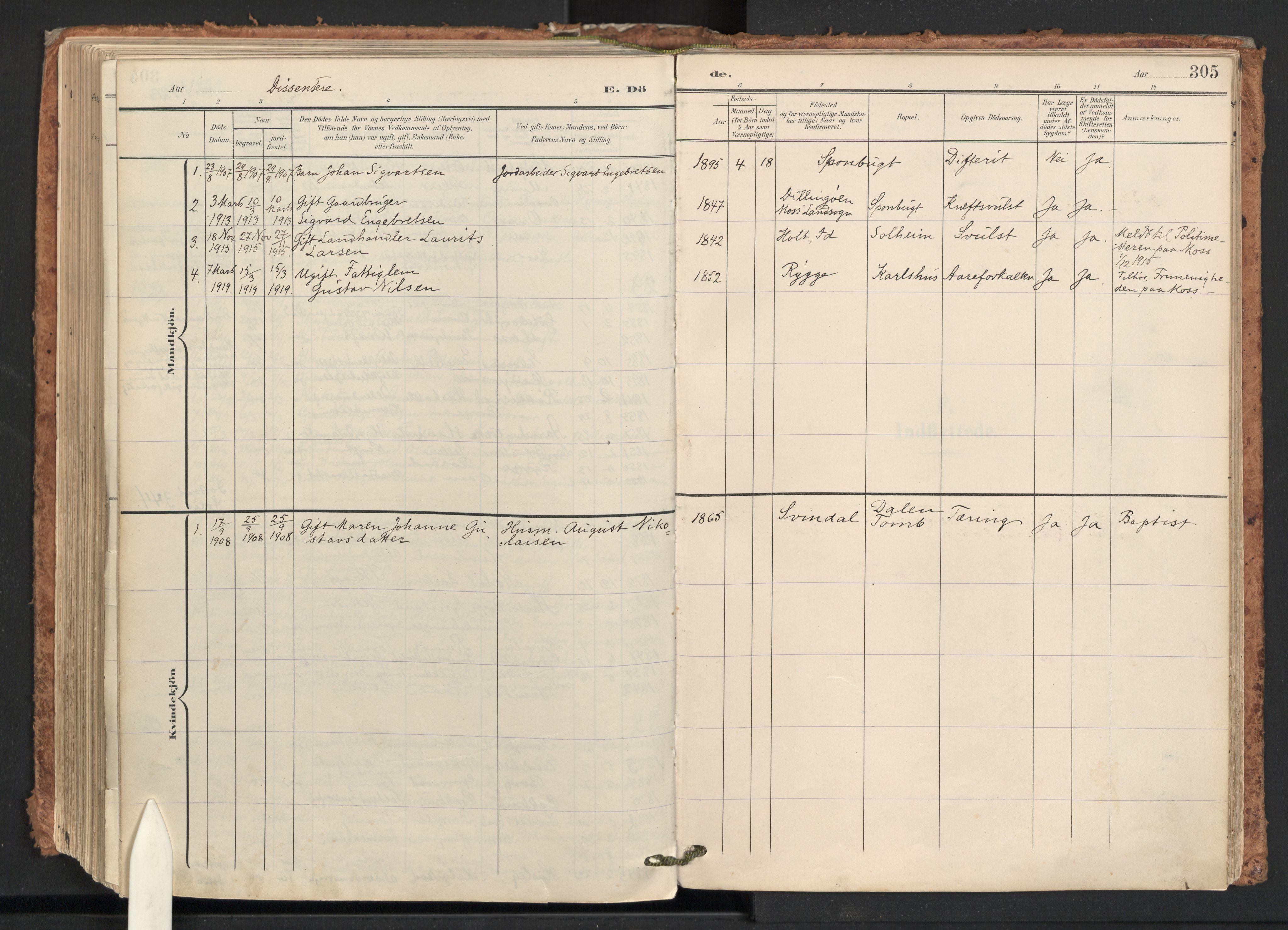 SAO, Råde prestekontor kirkebøker, F/Fa/L0008: Ministerialbok nr. 8, 1903-1924, s. 305