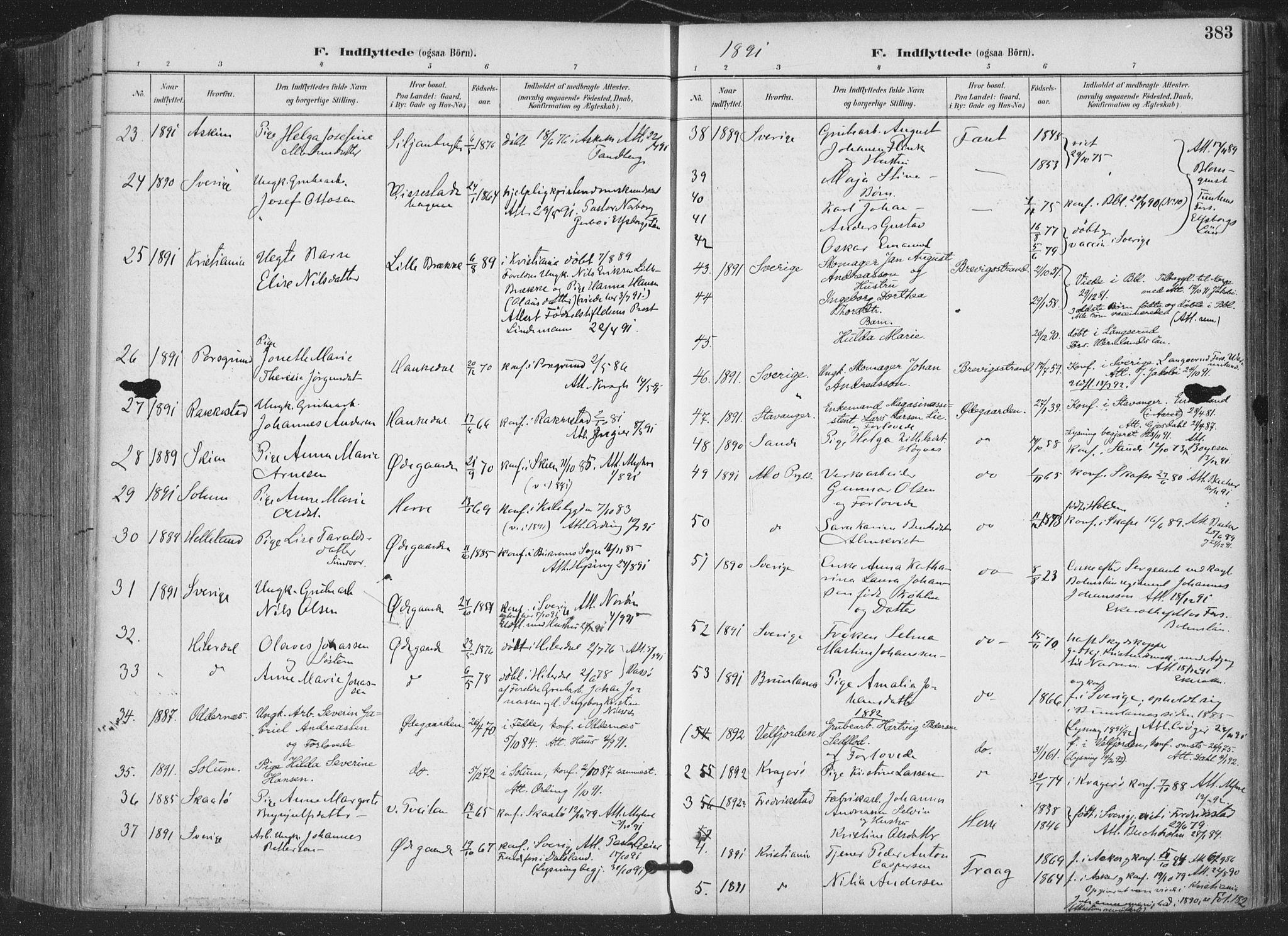 SAKO, Bamble kirkebøker, F/Fa/L0008: Ministerialbok nr. I 8, 1888-1900, s. 383
