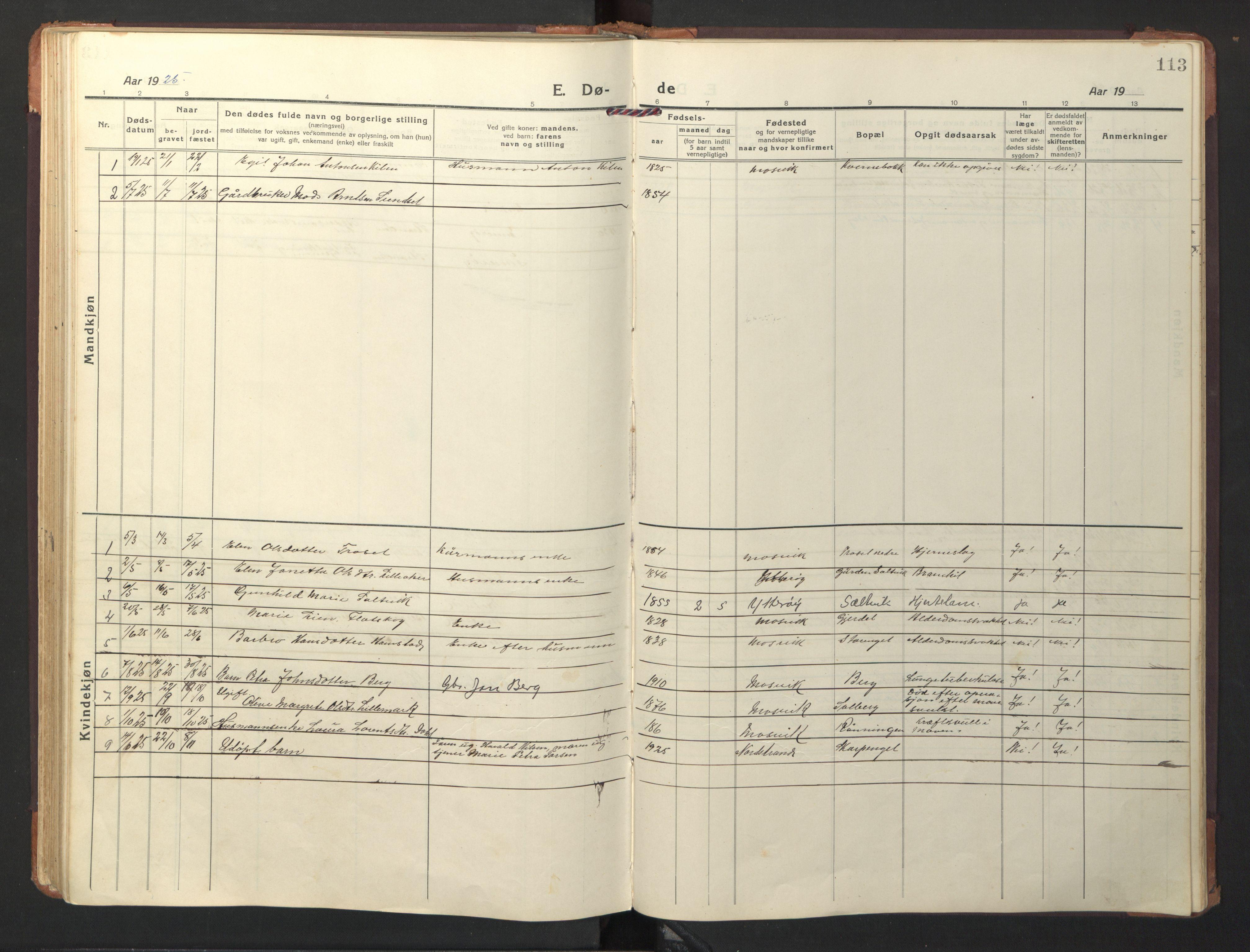 SAT, Ministerialprotokoller, klokkerbøker og fødselsregistre - Nord-Trøndelag, 733/L0328: Klokkerbok nr. 733C03, 1919-1966, s. 113
