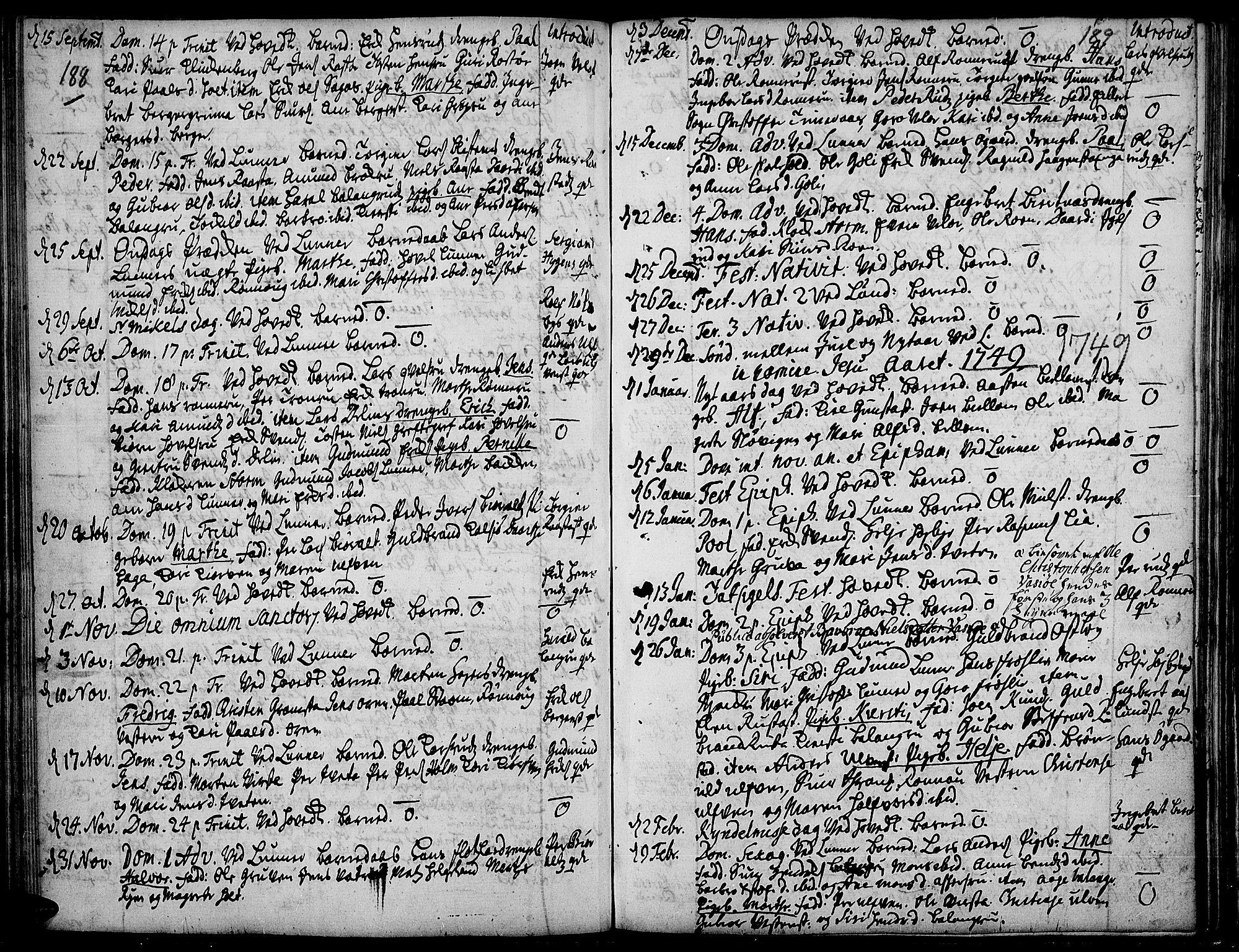 SAH, Jevnaker prestekontor, Ministerialbok nr. 2, 1725-1751, s. 188-189