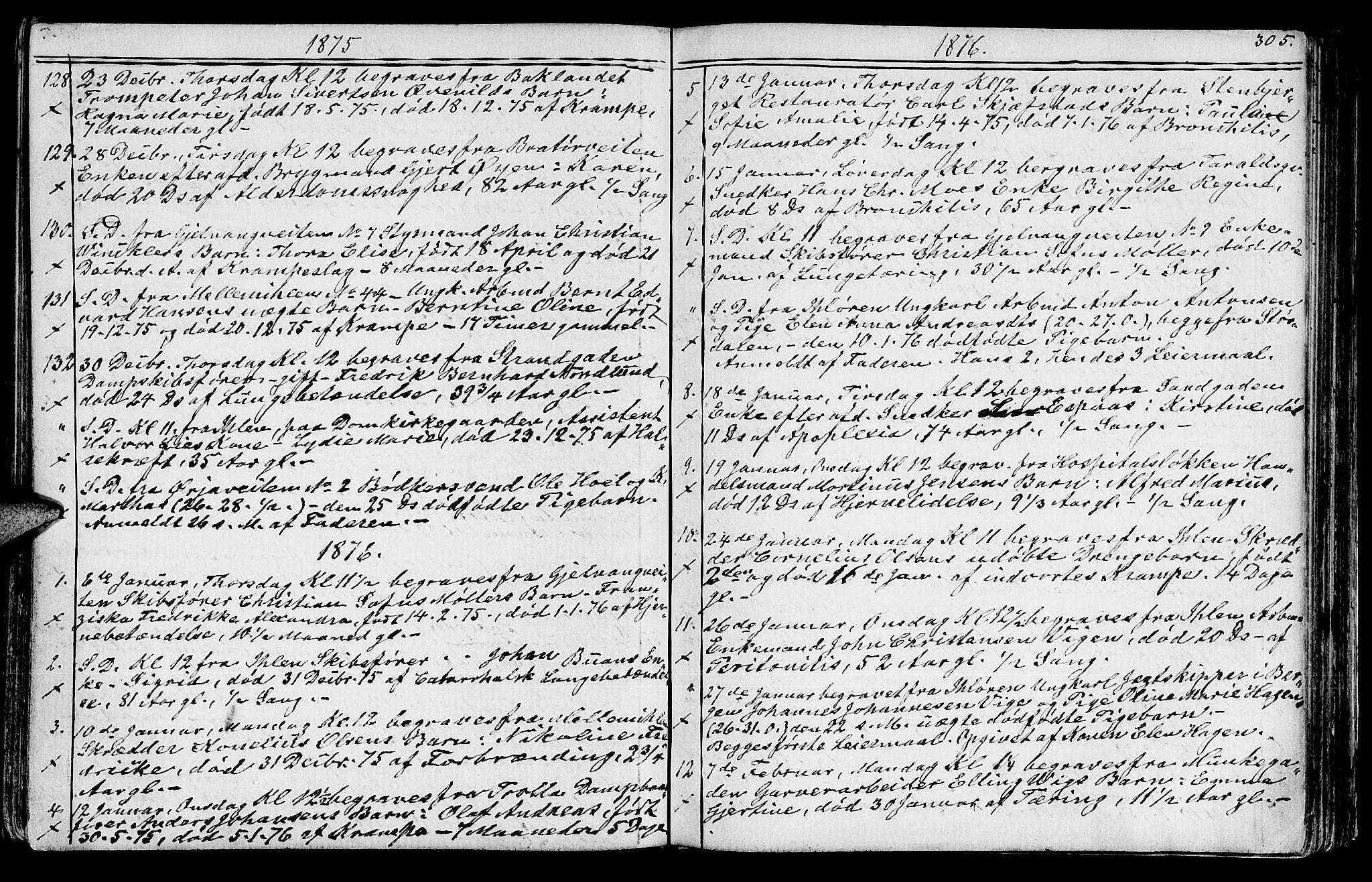 SAT, Ministerialprotokoller, klokkerbøker og fødselsregistre - Sør-Trøndelag, 602/L0142: Klokkerbok nr. 602C10, 1872-1894, s. 305