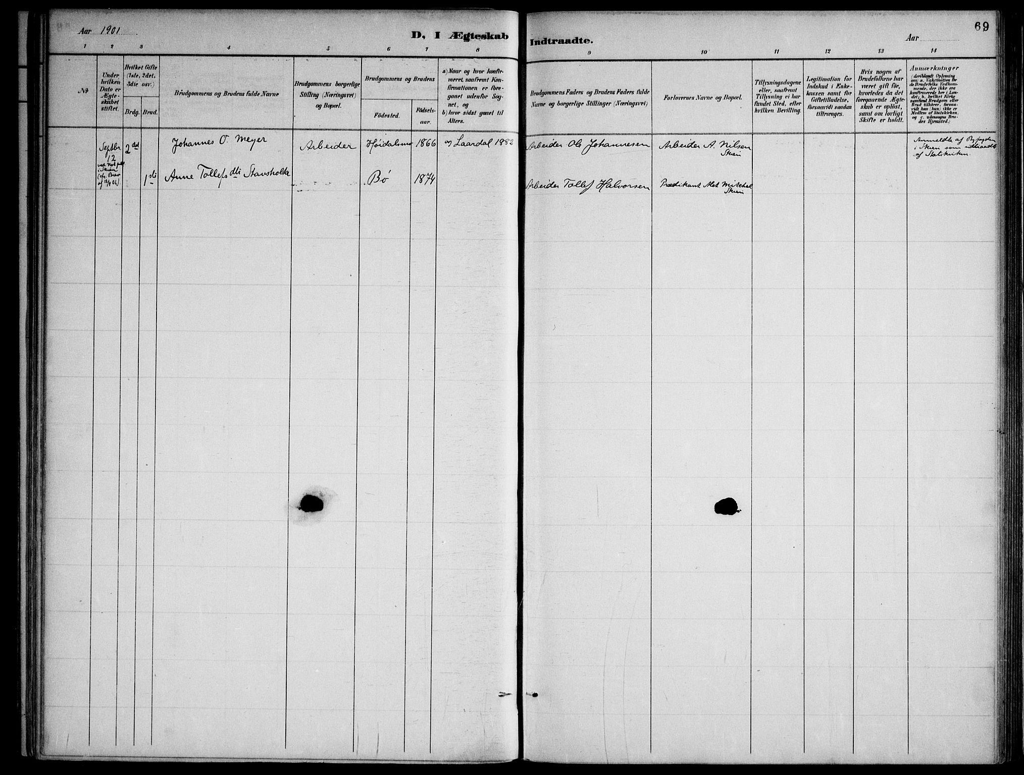 SAKO, Lårdal kirkebøker, F/Fa/L0007: Ministerialbok nr. I 7, 1887-1906, s. 69