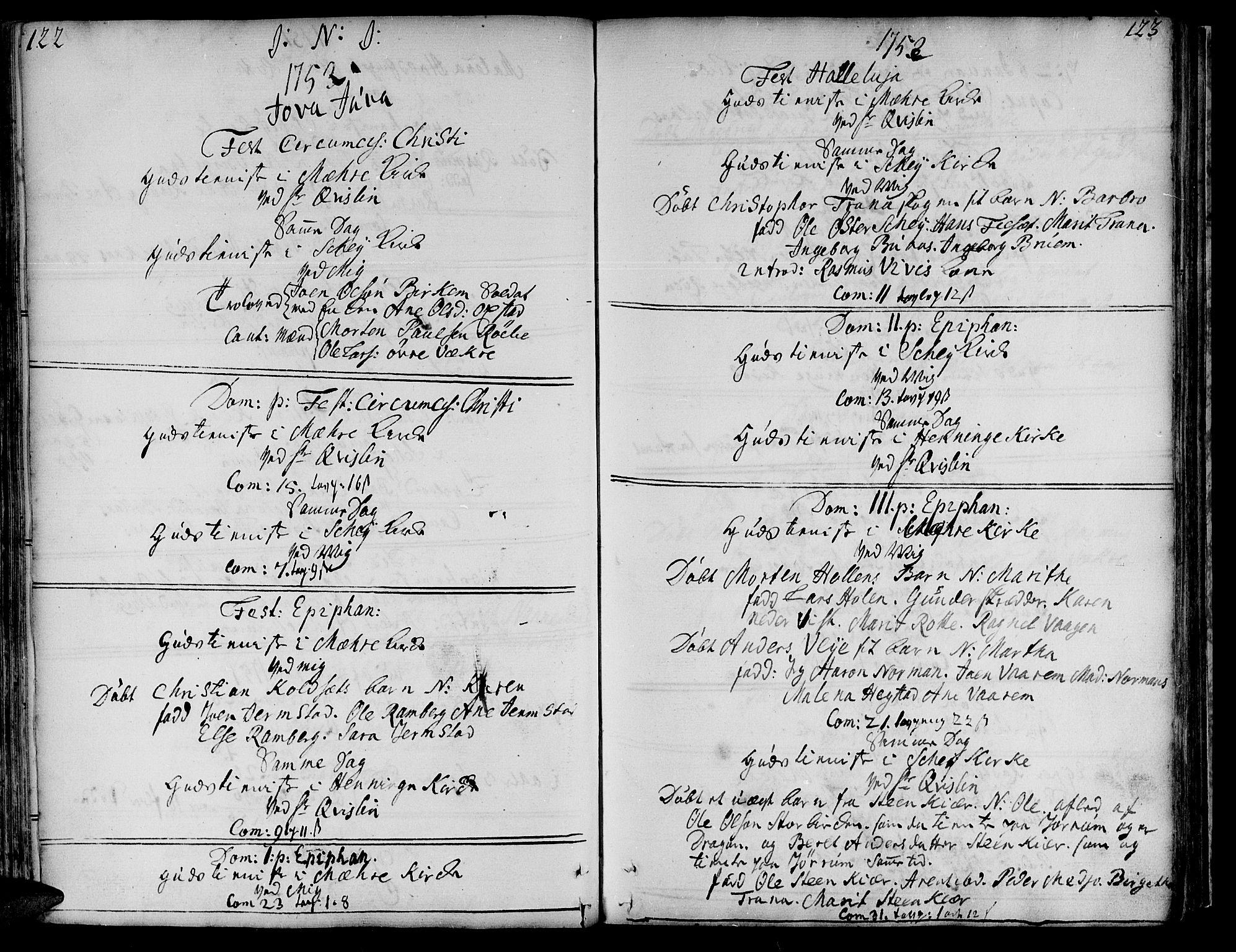 SAT, Ministerialprotokoller, klokkerbøker og fødselsregistre - Nord-Trøndelag, 735/L0330: Ministerialbok nr. 735A01, 1740-1766, s. 122-123