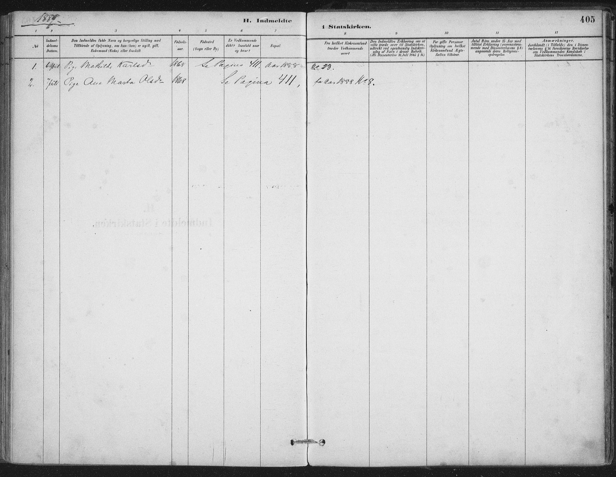 SAT, Ministerialprotokoller, klokkerbøker og fødselsregistre - Nordland, 888/L1244: Ministerialbok nr. 888A10, 1880-1890, s. 405
