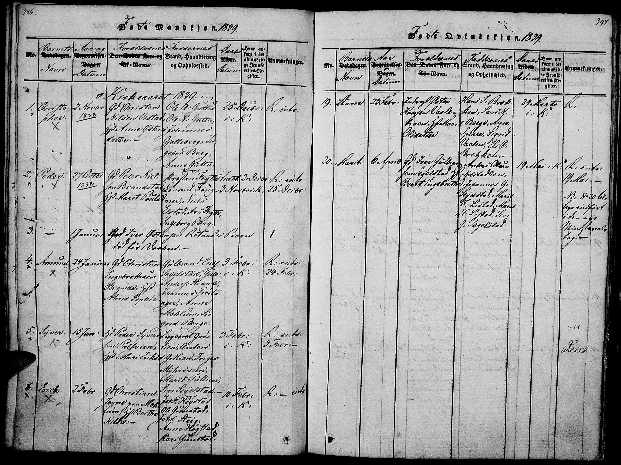 SAH, Ringebu prestekontor, Ministerialbok nr. 4, 1821-1839, s. 346-347