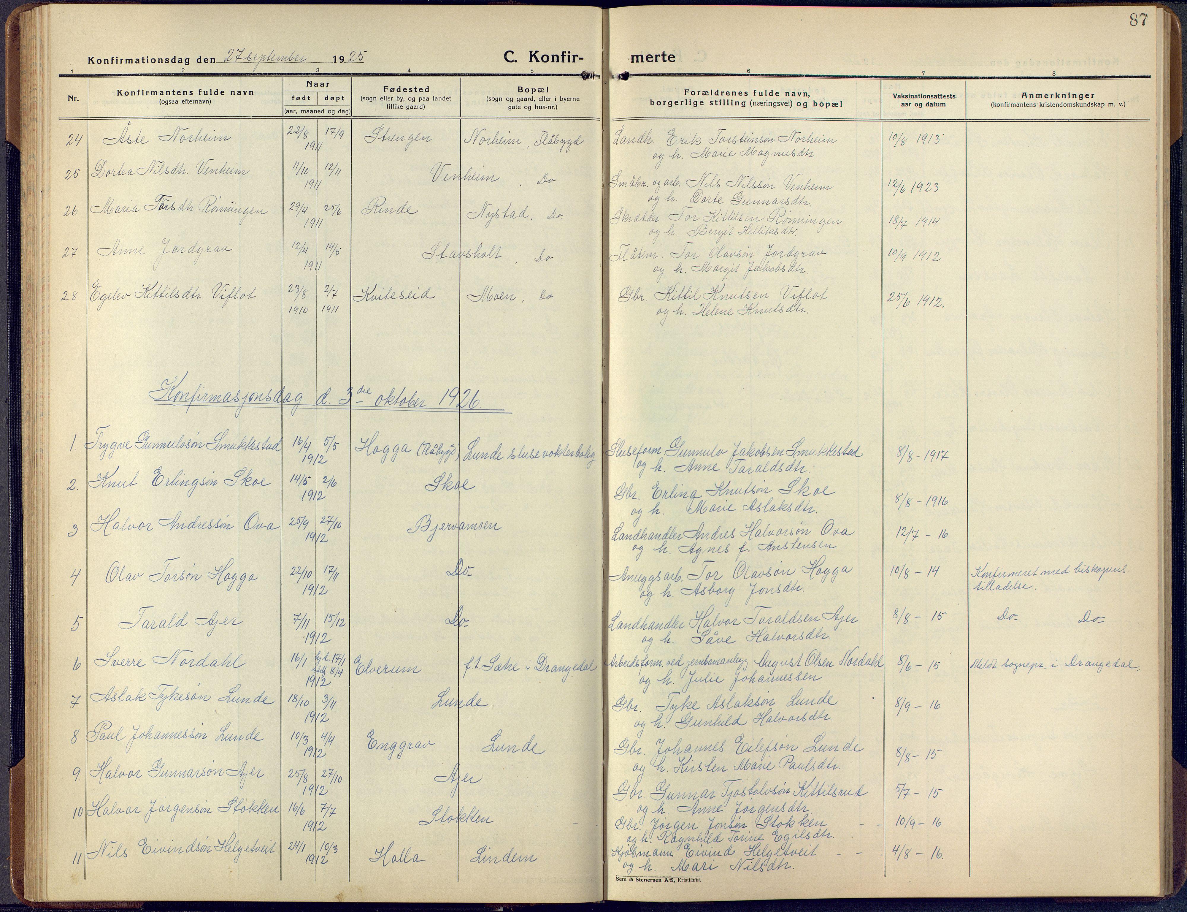 SAKO, Lunde kirkebøker, F/Fa/L0006: Ministerialbok nr. I 6, 1922-1940, s. 87