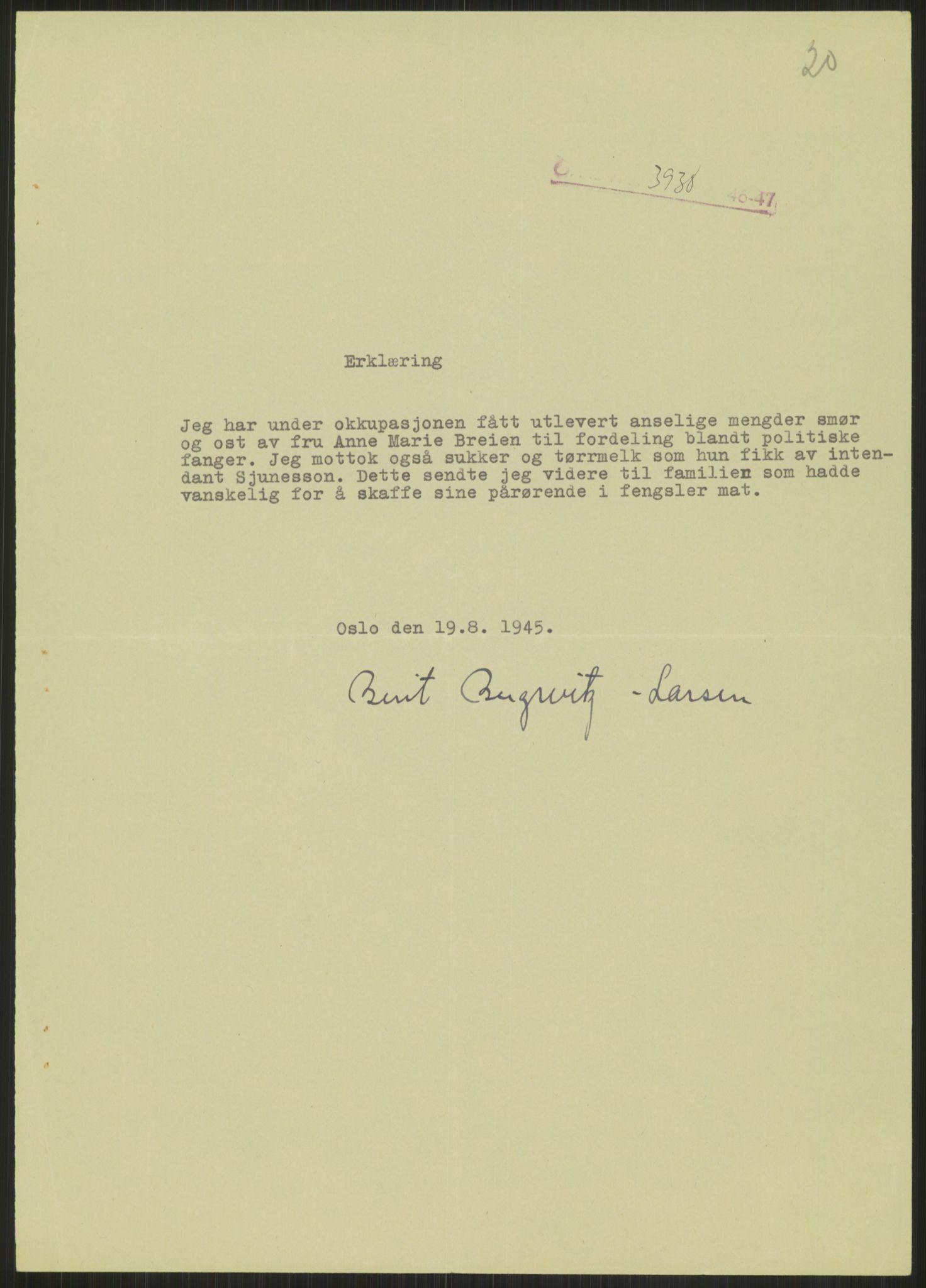 RA, Landssvikarkivet, Oslo politikammer, D/Dg/L0267: Henlagt hnr. 3658, 1945-1946, s. 272