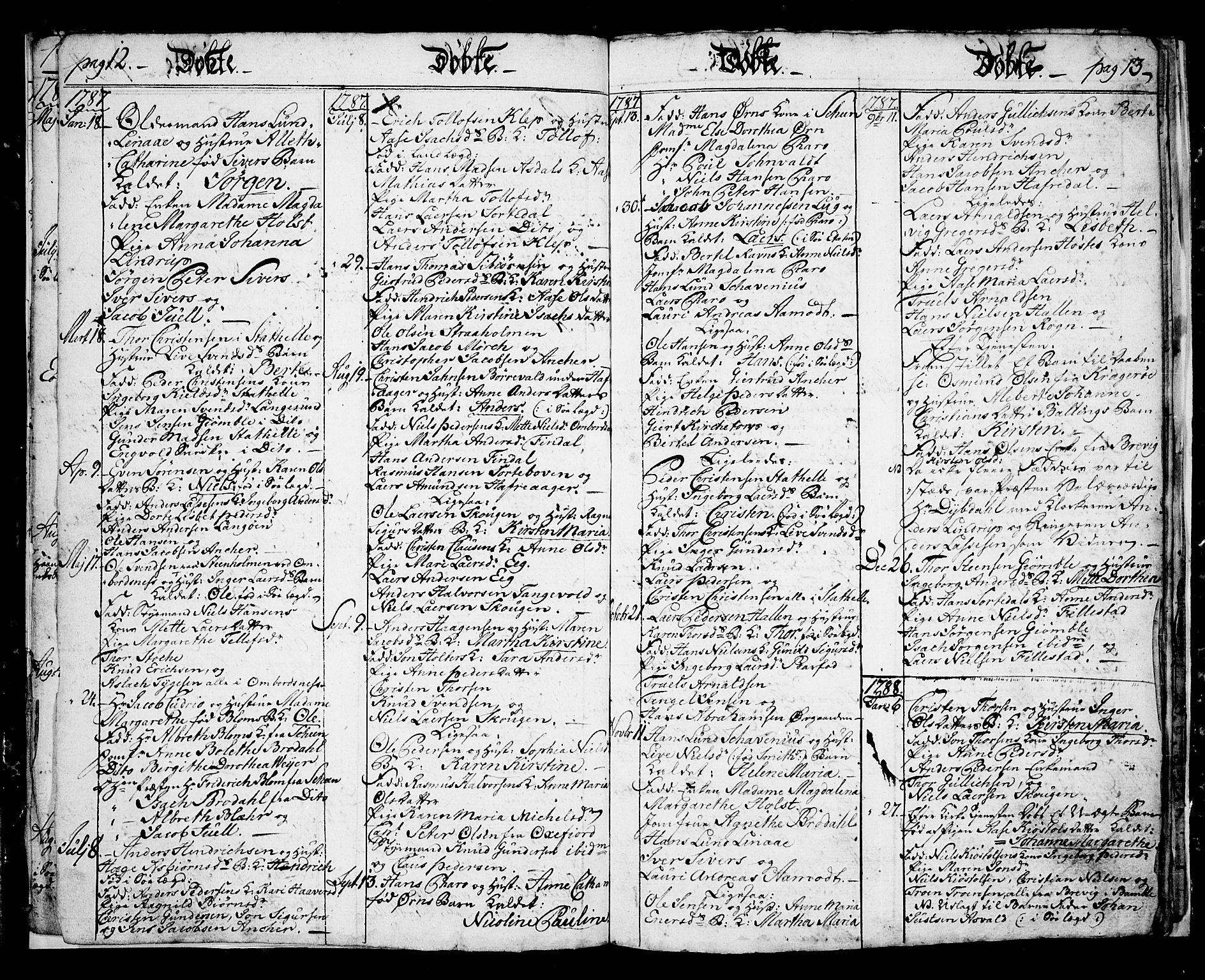 SAKO, Langesund kirkebøker, G/Ga/L0001: Klokkerbok nr. 1, 1783-1801, s. 12-13