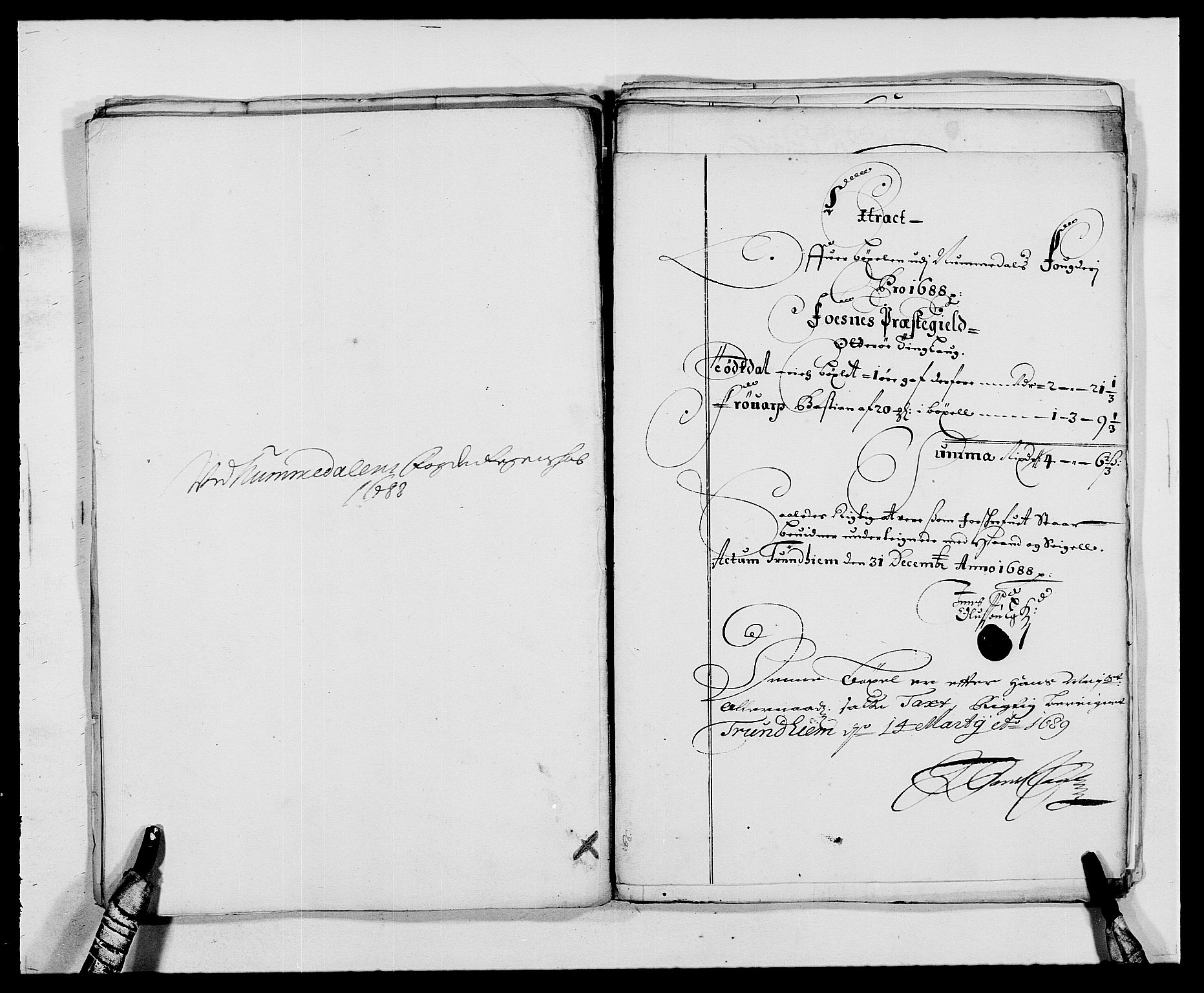 RA, Rentekammeret inntil 1814, Reviderte regnskaper, Fogderegnskap, R64/L4422: Fogderegnskap Namdal, 1687-1689, s. 157