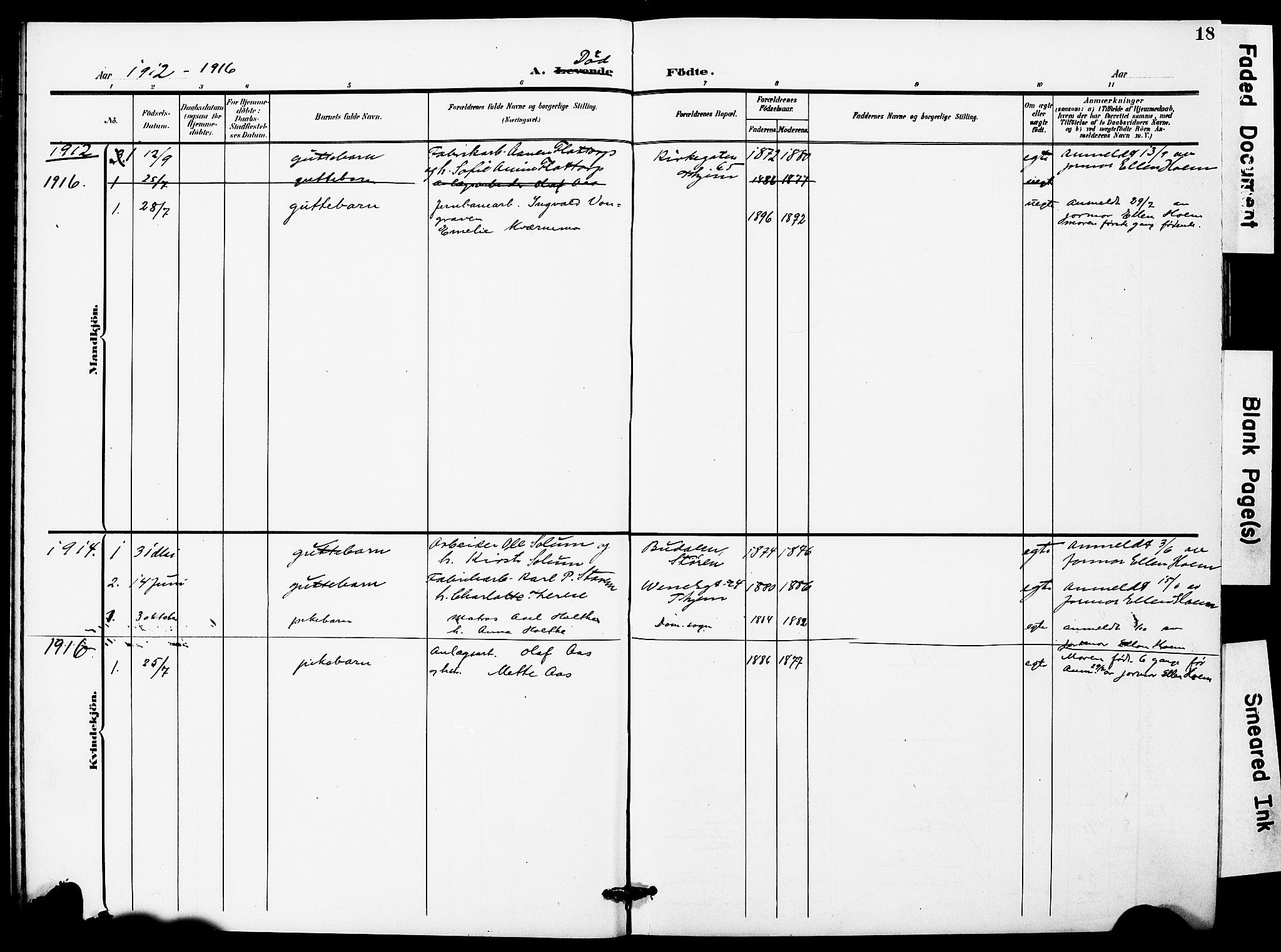 SAT, Ministerialprotokoller, klokkerbøker og fødselsregistre - Sør-Trøndelag, 628/L0483: Ministerialbok nr. 628A01, 1902-1920, s. 18