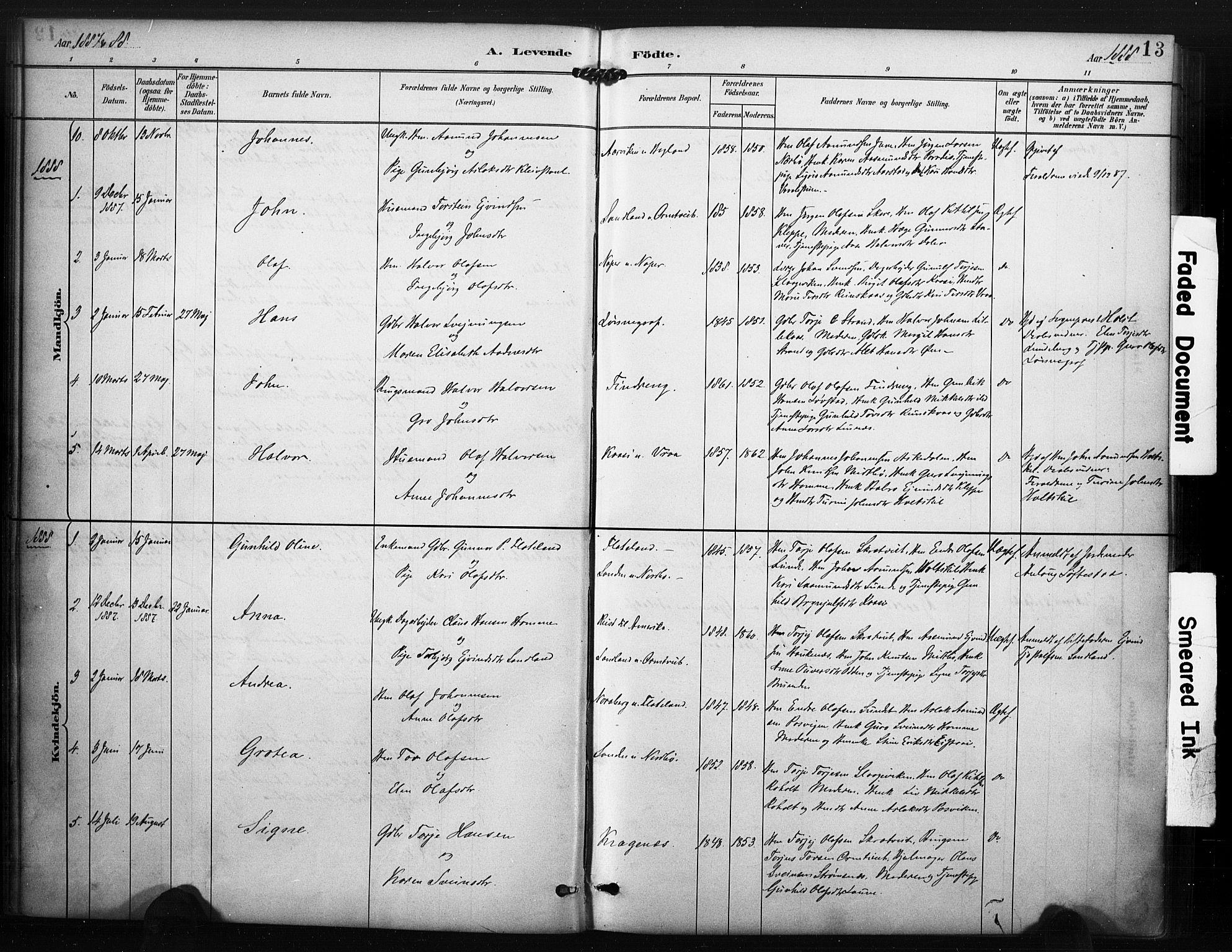 SAKO, Kviteseid kirkebøker, F/Fc/L0002: Ministerialbok nr. III 2, 1882-1908, s. 13