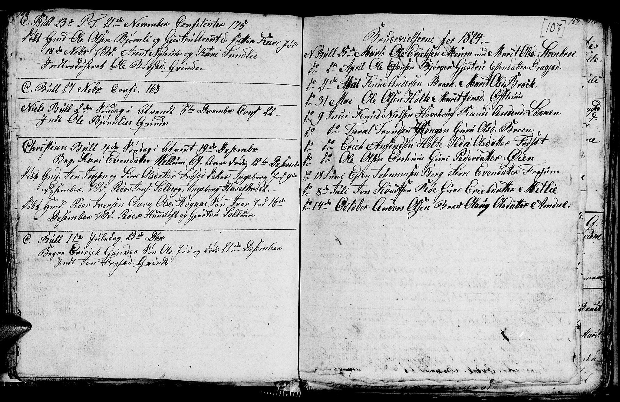 SAT, Ministerialprotokoller, klokkerbøker og fødselsregistre - Sør-Trøndelag, 689/L1042: Klokkerbok nr. 689C01, 1812-1841, s. 106-107