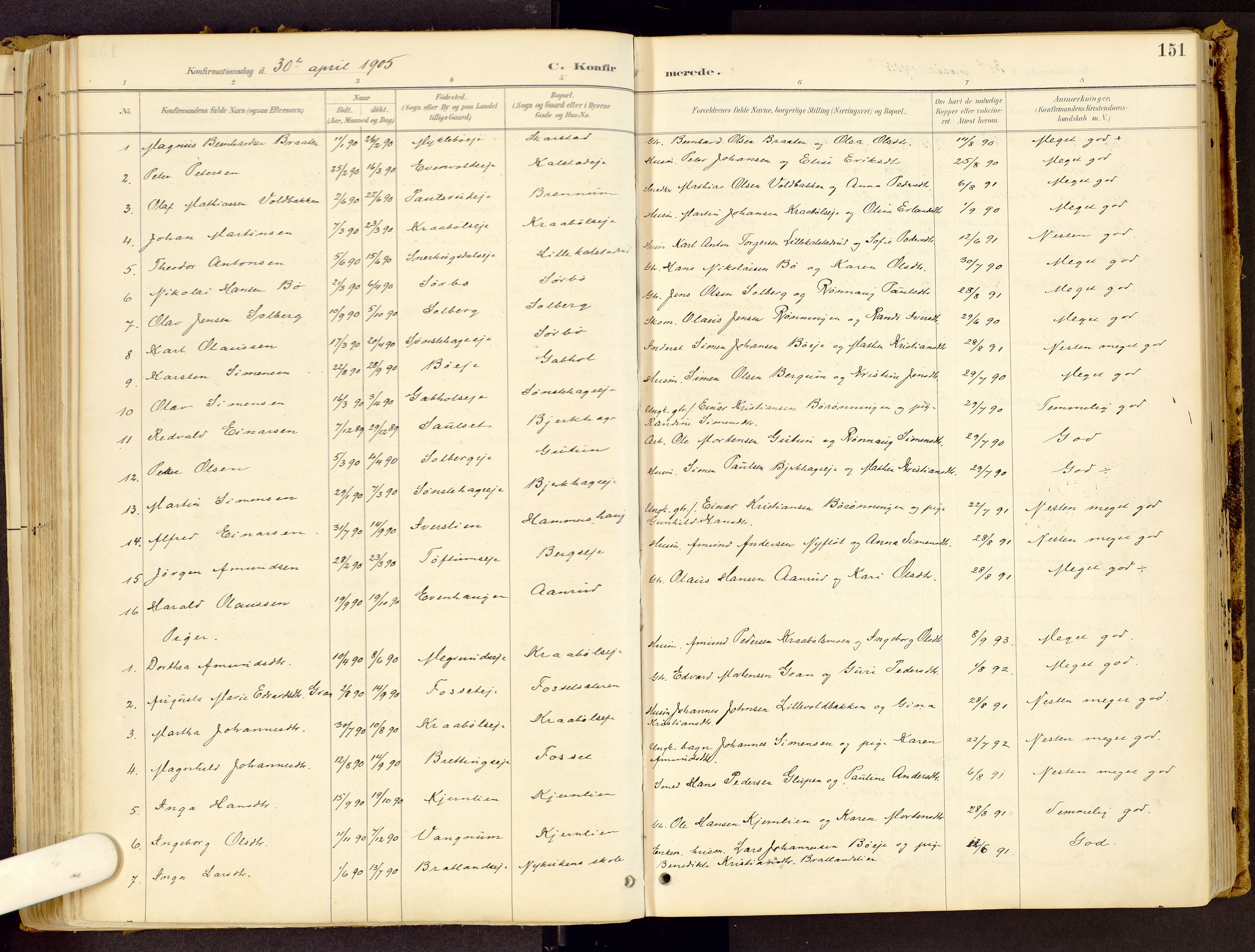 SAH, Vestre Gausdal prestekontor, Ministerialbok nr. 1, 1887-1914, s. 151