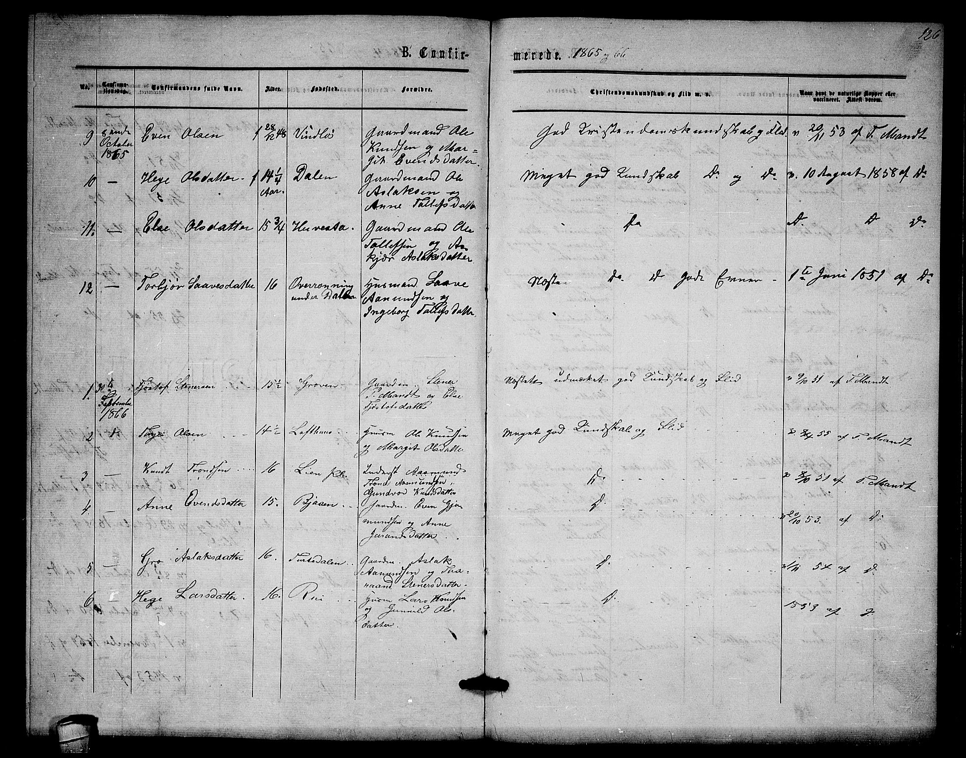 SAKO, Lårdal kirkebøker, G/Gb/L0002: Klokkerbok nr. II 2, 1865-1888, s. 126