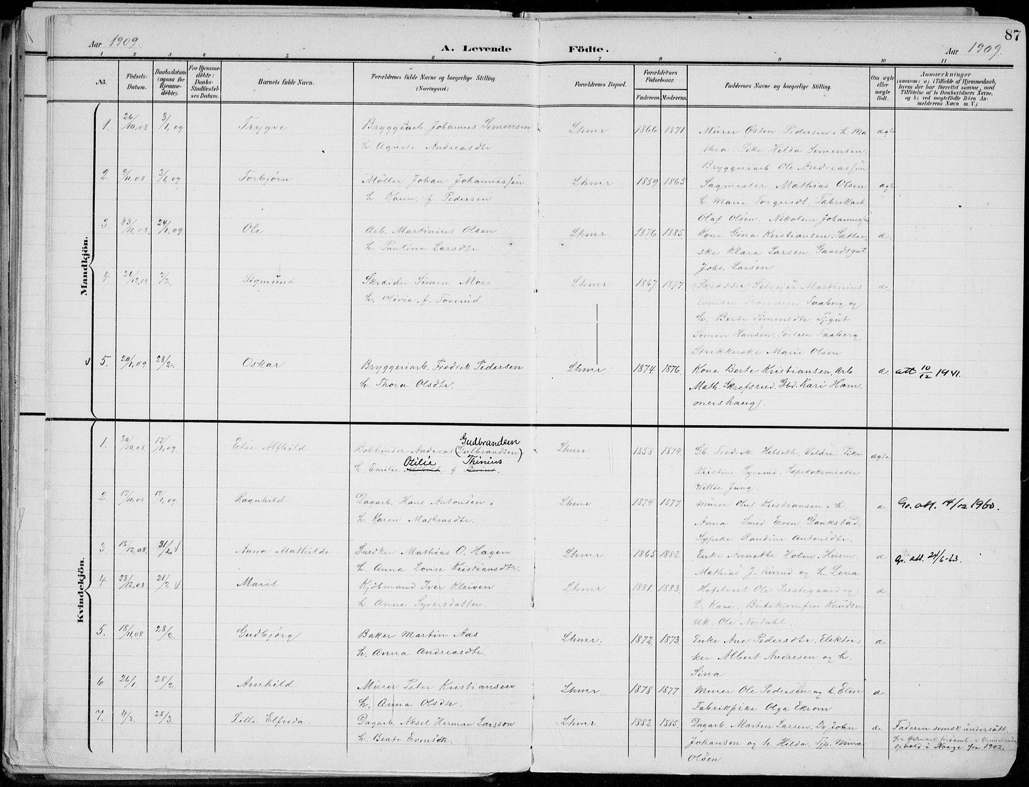 SAH, Lillehammer prestekontor, Ministerialbok nr. 1, 1901-1916, s. 87