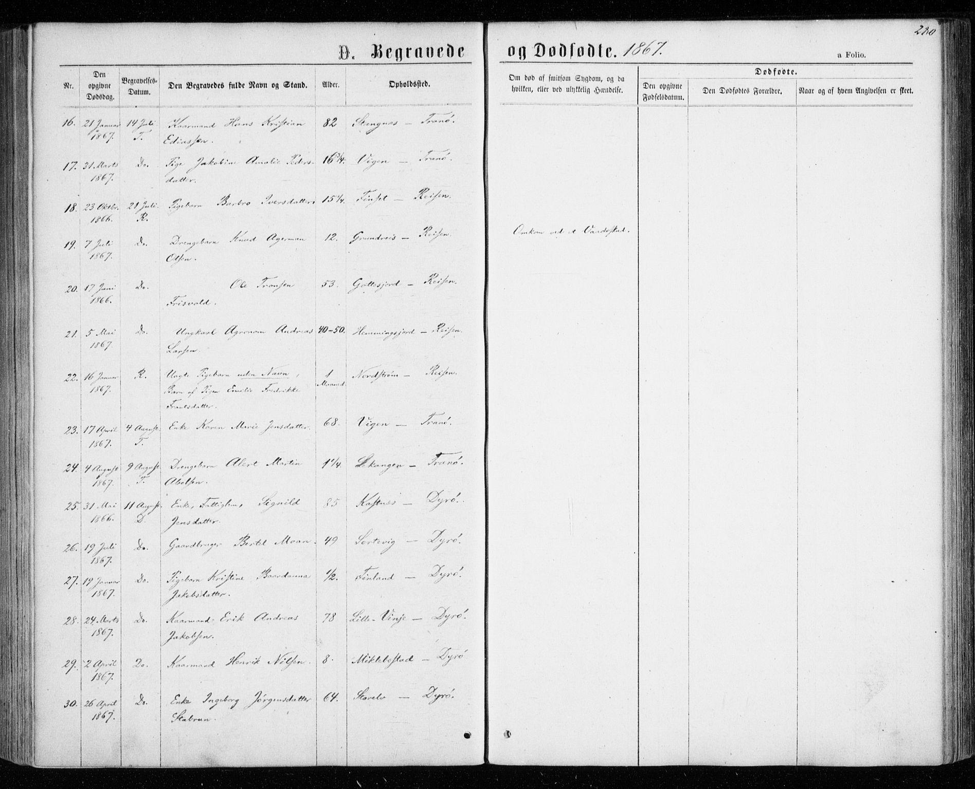 SATØ, Tranøy sokneprestkontor, I/Ia/Iaa/L0008kirke: Ministerialbok nr. 8, 1867-1877, s. 280