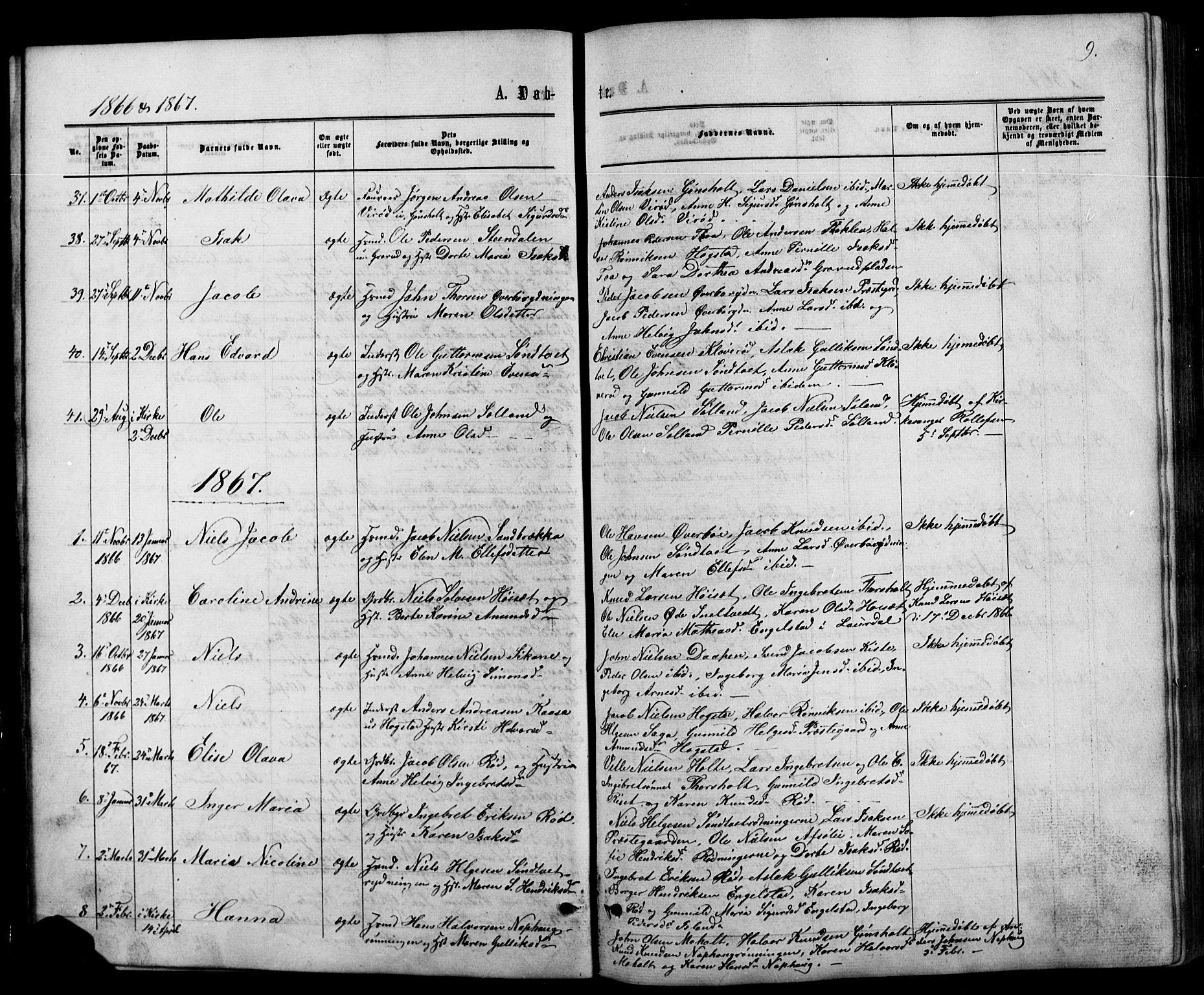 SAKO, Siljan kirkebøker, G/Ga/L0002: Klokkerbok nr. 2, 1864-1908, s. 9