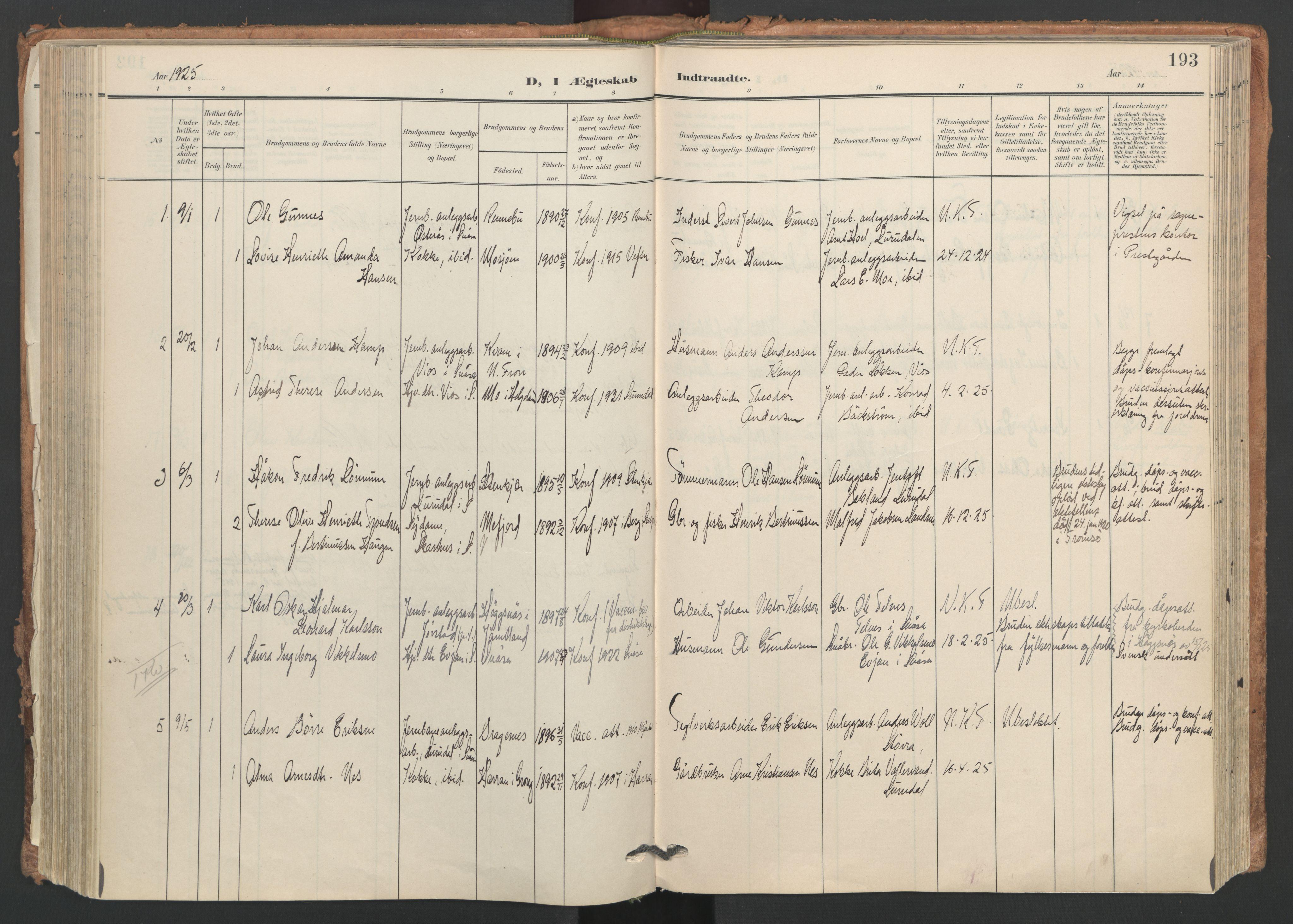 SAT, Ministerialprotokoller, klokkerbøker og fødselsregistre - Nord-Trøndelag, 749/L0477: Ministerialbok nr. 749A11, 1902-1927, s. 193