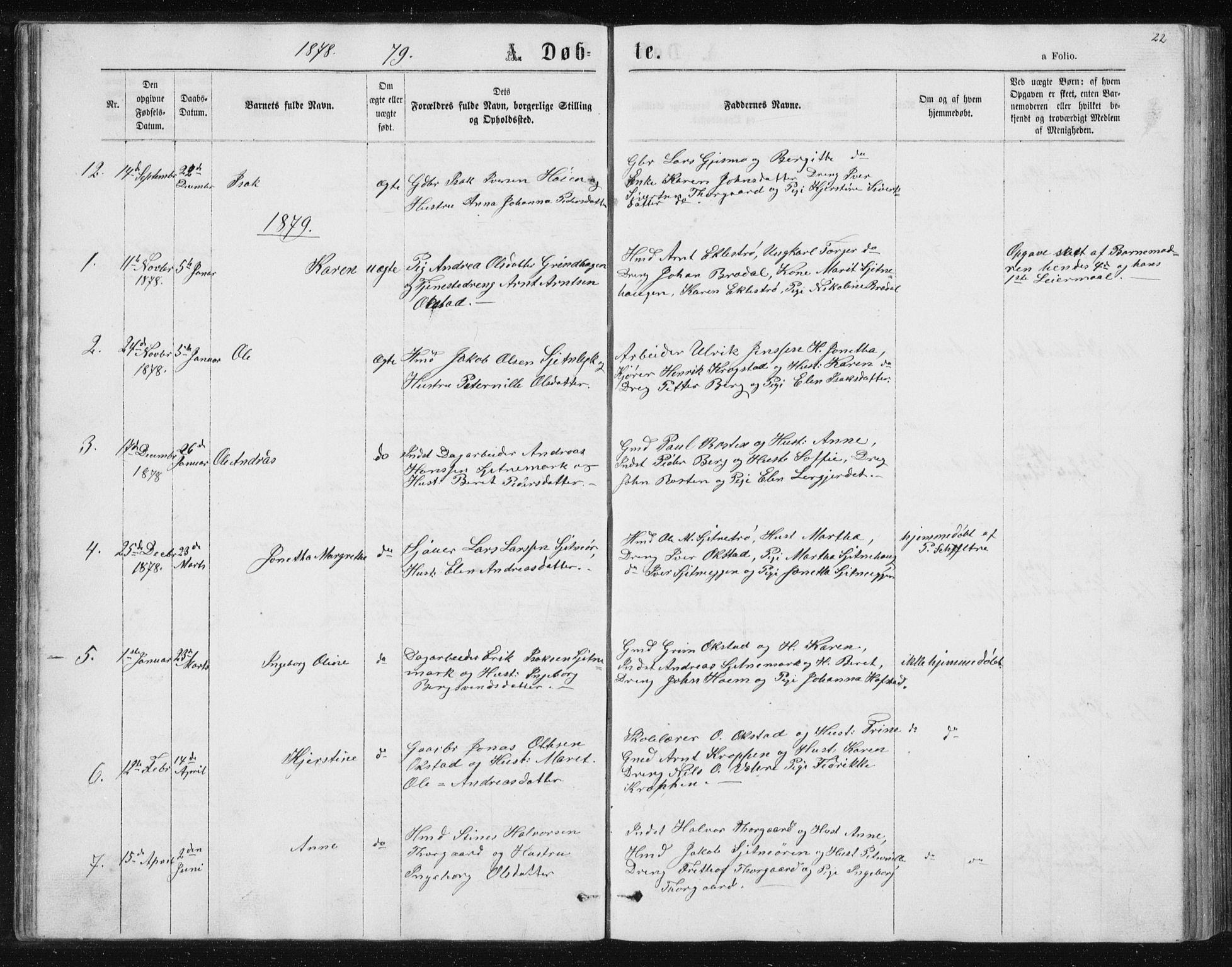 SAT, Ministerialprotokoller, klokkerbøker og fødselsregistre - Sør-Trøndelag, 621/L0459: Klokkerbok nr. 621C02, 1866-1895, s. 22
