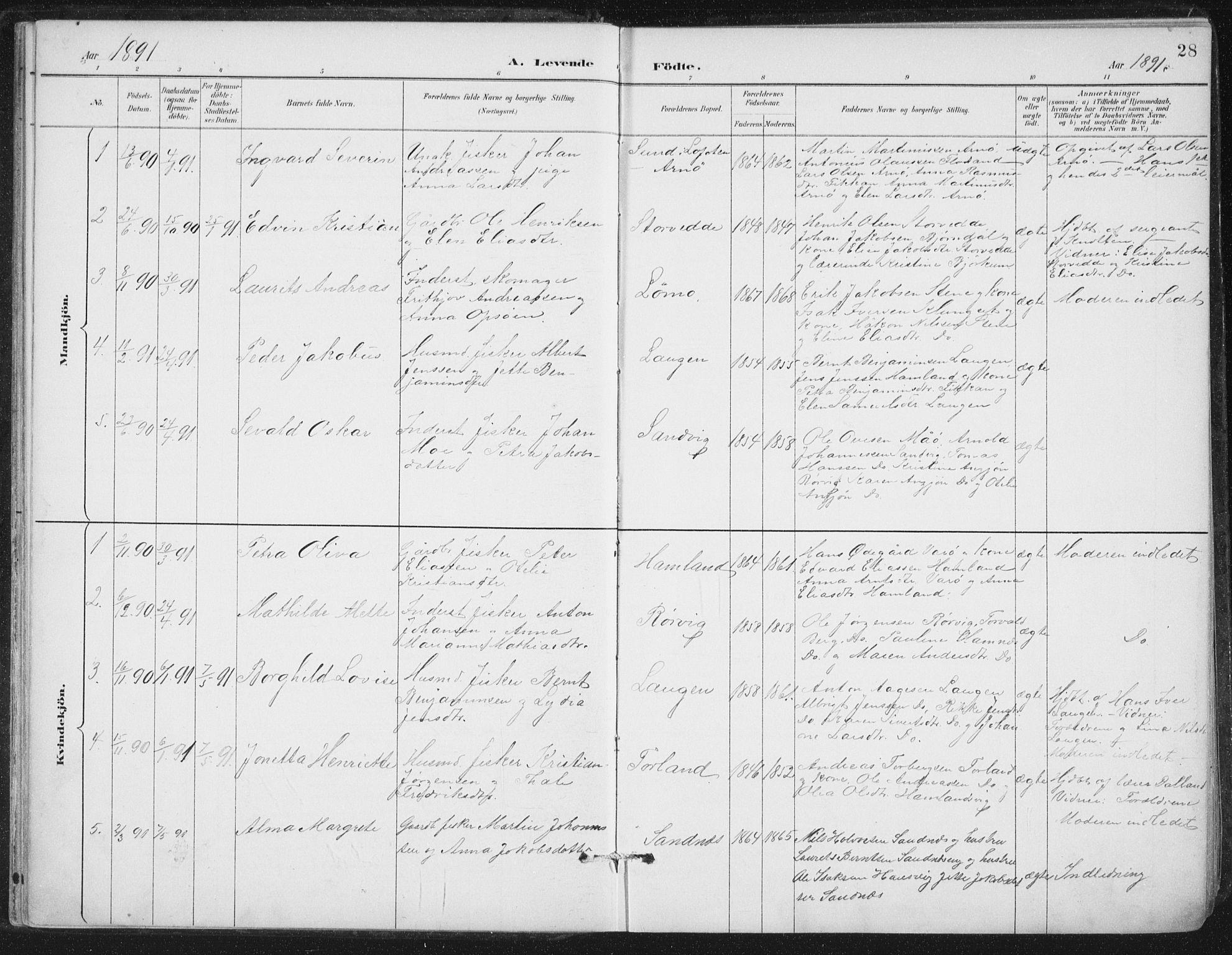 SAT, Ministerialprotokoller, klokkerbøker og fødselsregistre - Nord-Trøndelag, 784/L0673: Ministerialbok nr. 784A08, 1888-1899, s. 28
