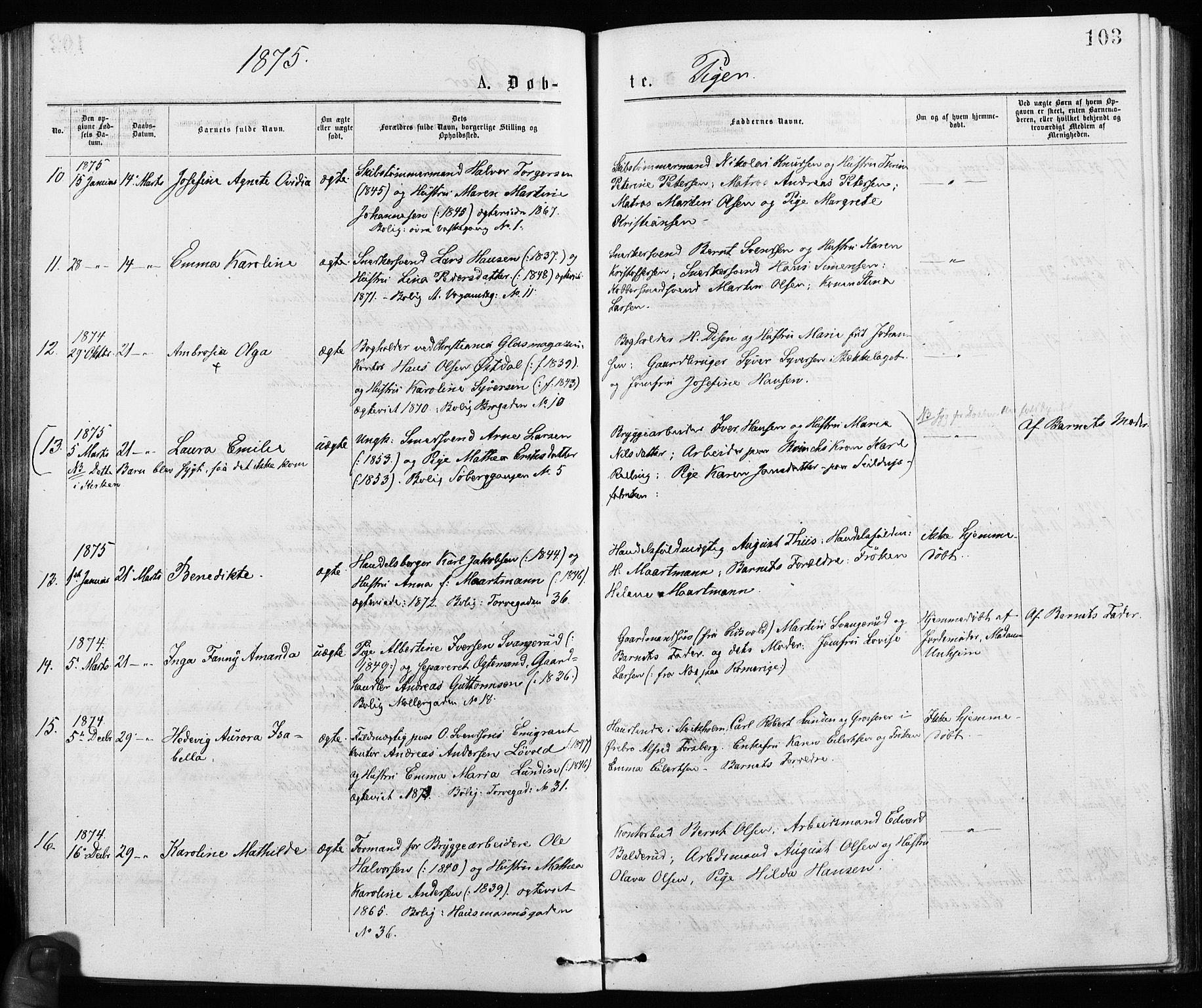 SAO, Jakob prestekontor Kirkebøker, F/Fa/L0001: Ministerialbok nr. 1, 1875-1924, s. 103