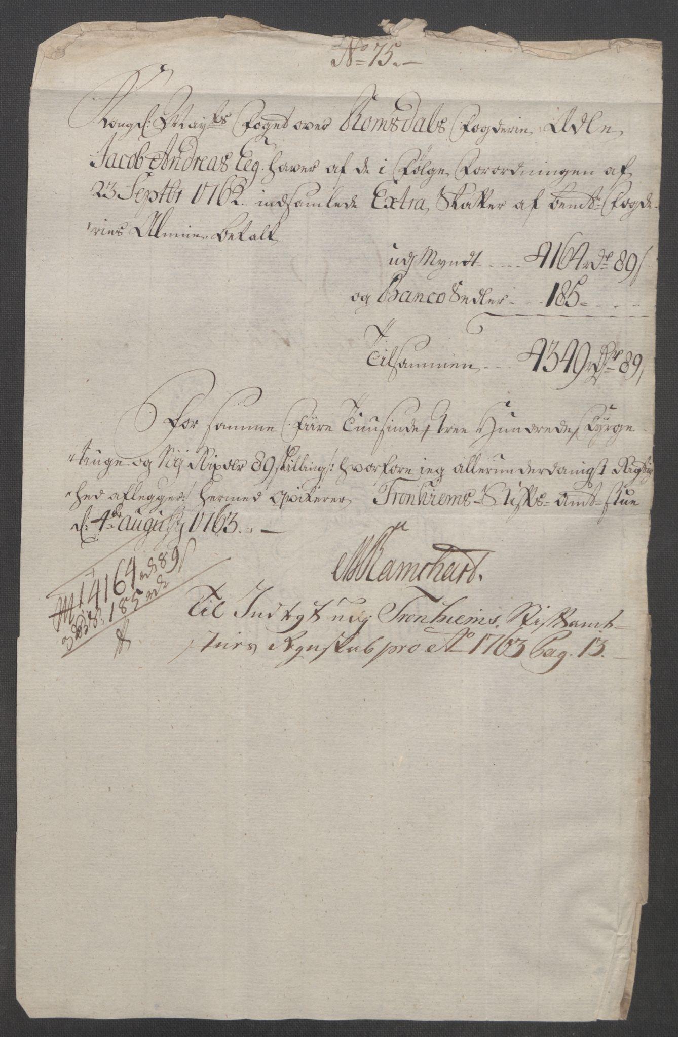 RA, Rentekammeret inntil 1814, Reviderte regnskaper, Fogderegnskap, R55/L3730: Ekstraskatten Romsdal, 1762-1763, s. 544