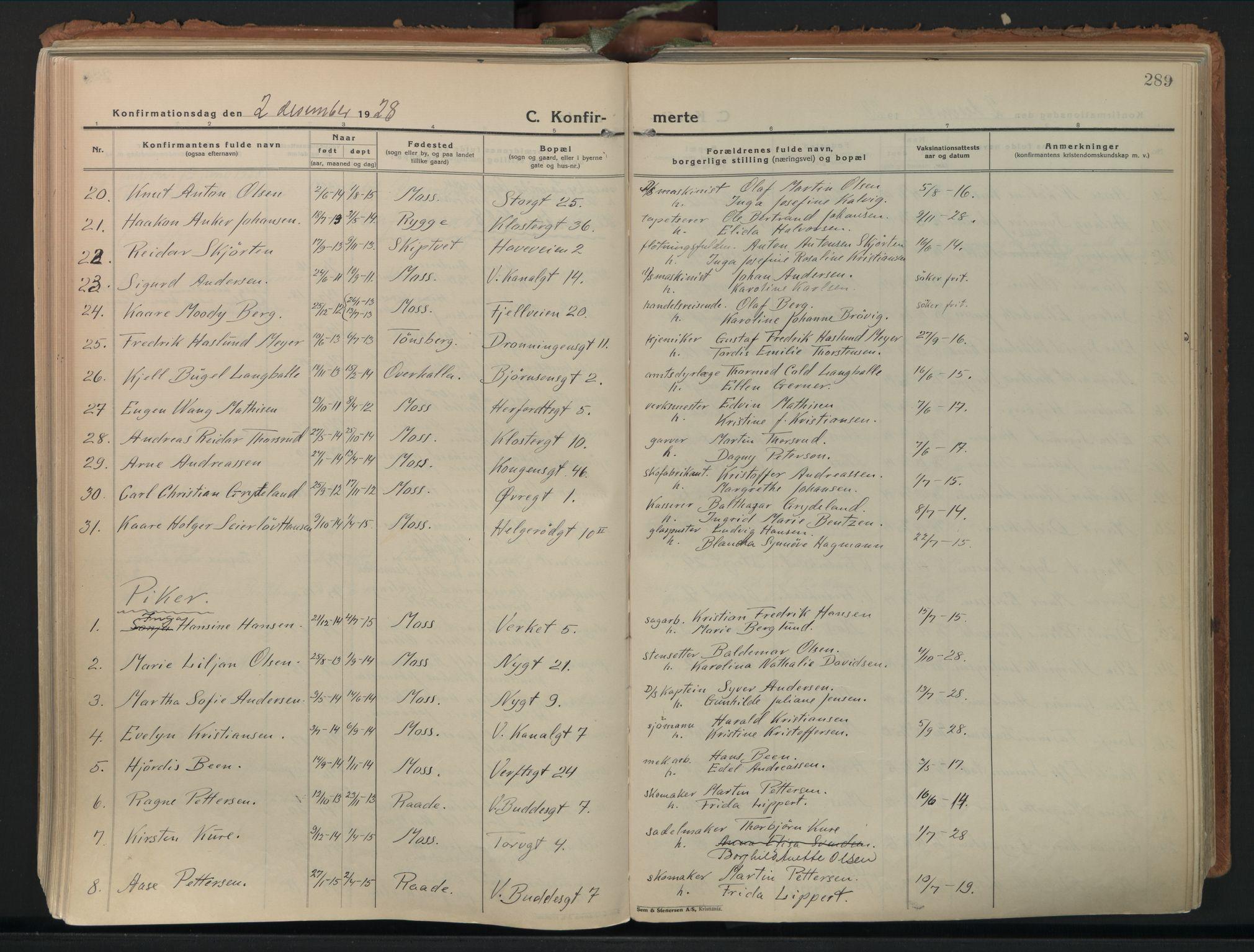 SAO, Moss prestekontor Kirkebøker, F/Fb/Fab/L0006: Ministerialbok nr. II 6, 1924-1932, s. 289