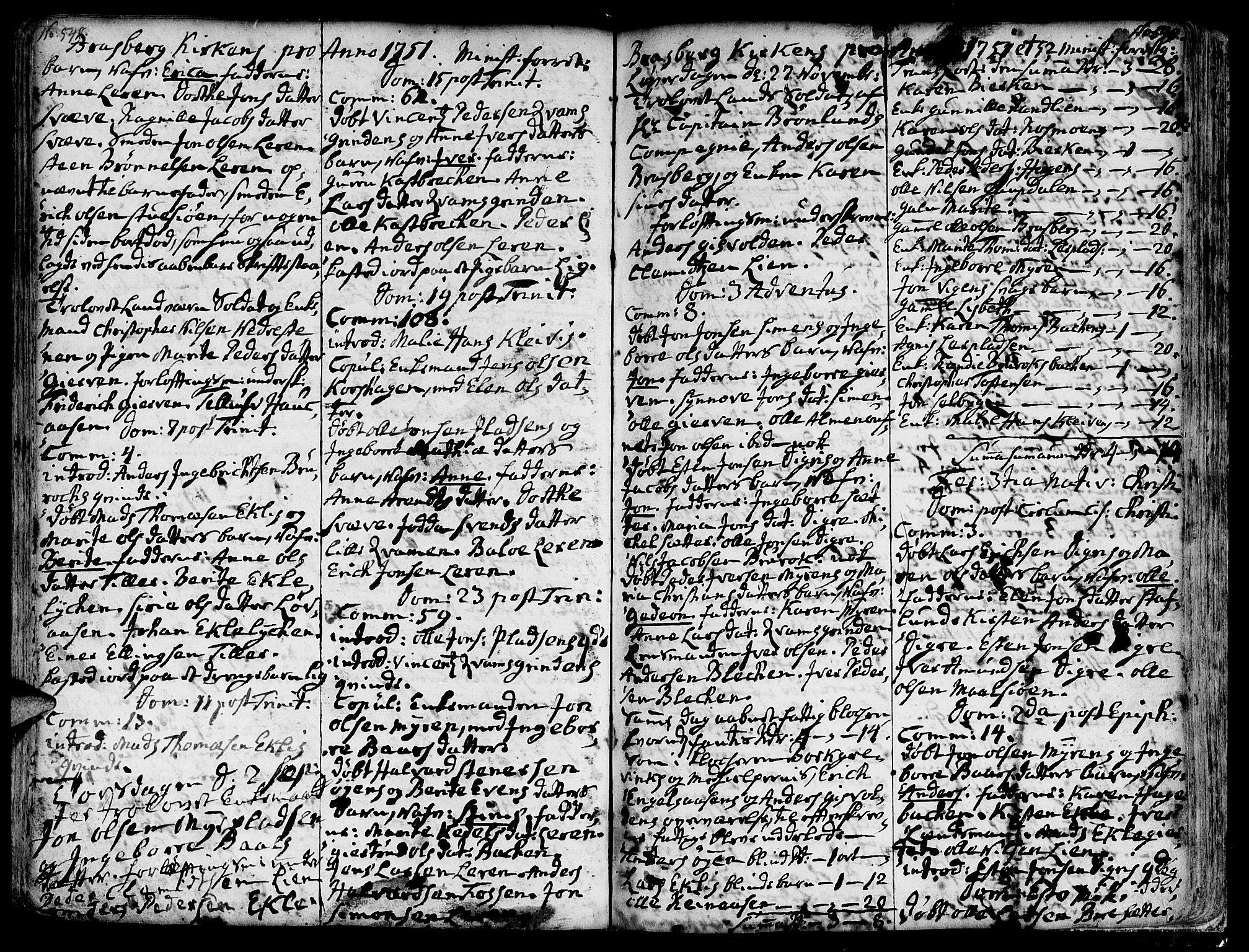 SAT, Ministerialprotokoller, klokkerbøker og fødselsregistre - Sør-Trøndelag, 606/L0278: Ministerialbok nr. 606A01 /4, 1727-1780, s. 548-549