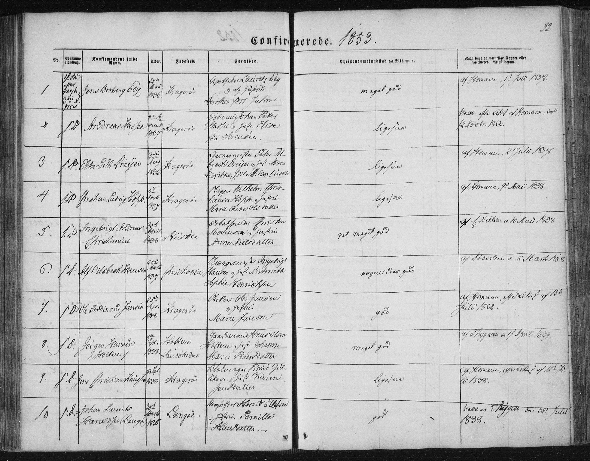 SAKO, Kragerø kirkebøker, F/Fa/L0006: Ministerialbok nr. 6, 1847-1861, s. 32