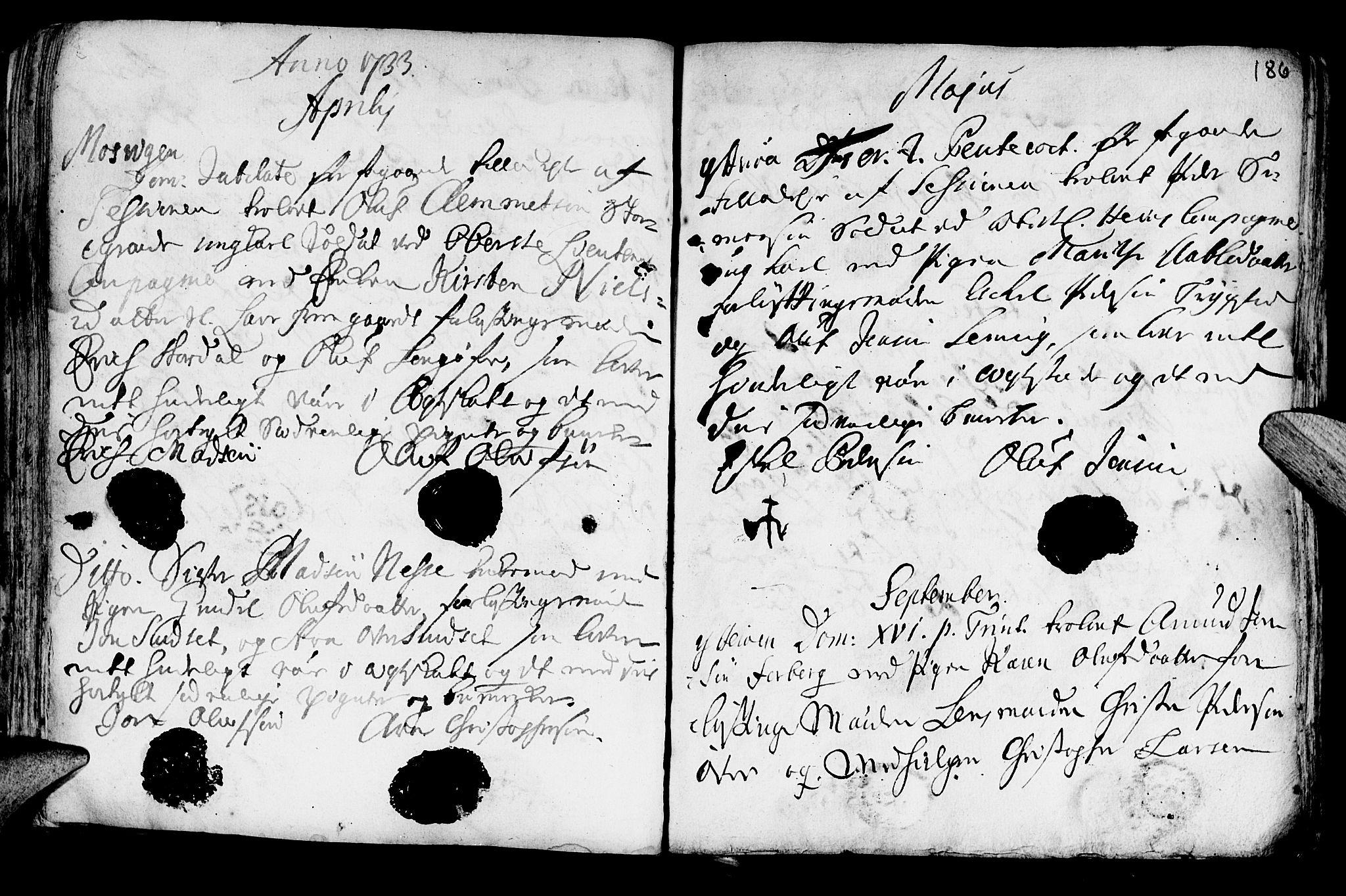SAT, Ministerialprotokoller, klokkerbøker og fødselsregistre - Nord-Trøndelag, 722/L0215: Ministerialbok nr. 722A02, 1718-1755, s. 186