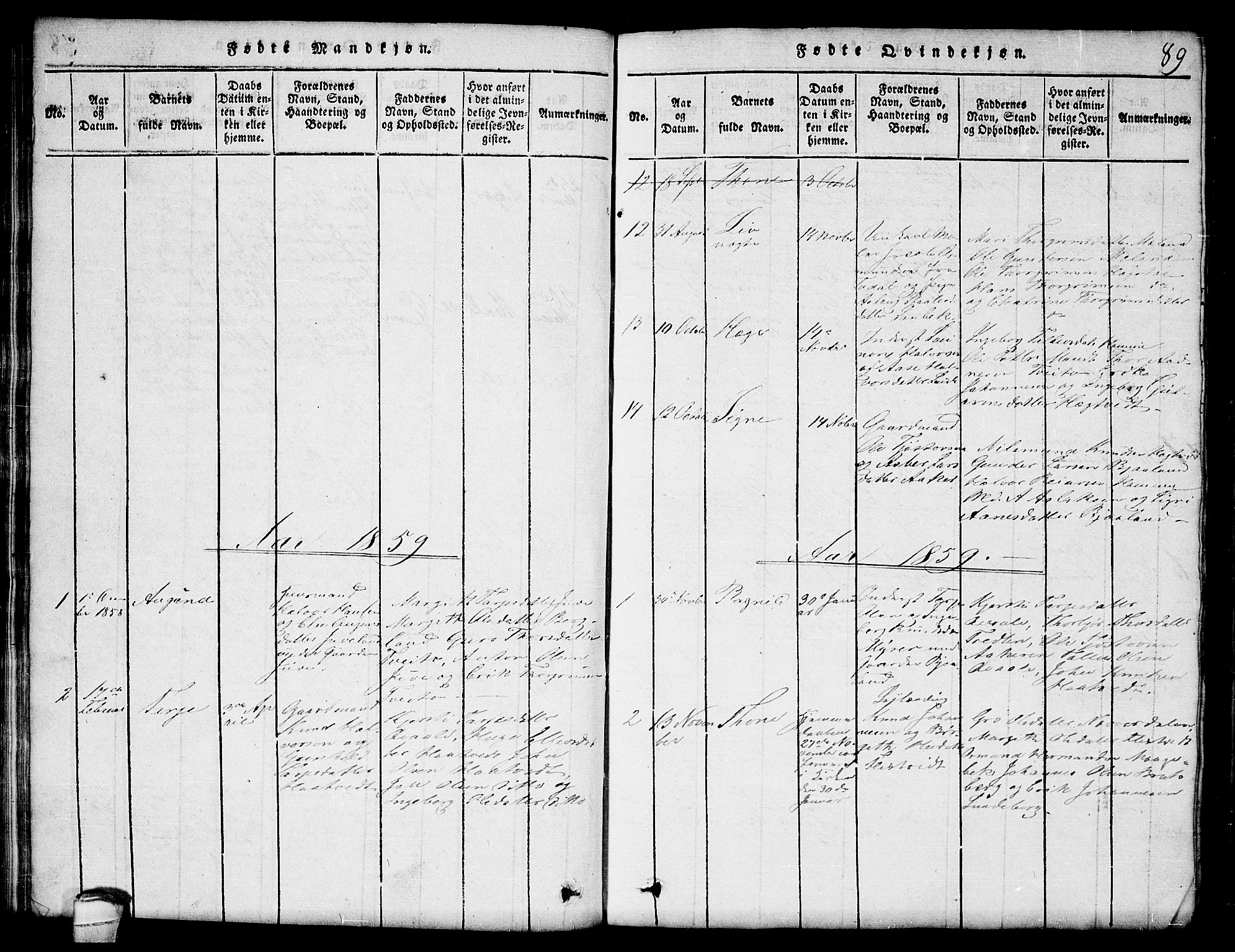 SAKO, Lårdal kirkebøker, G/Ga/L0001: Klokkerbok nr. I 1, 1815-1861, s. 89