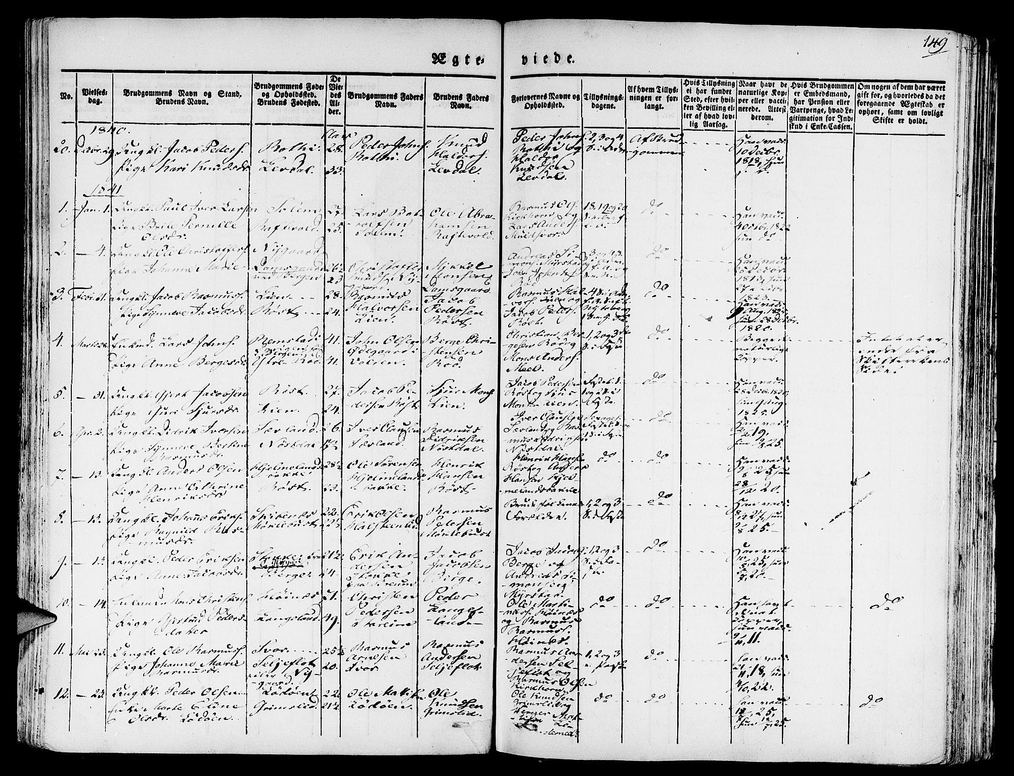 SAB, Eid Sokneprestembete, H/Haa: Ministerialbok nr. A 6, 1831-1843, s. 149