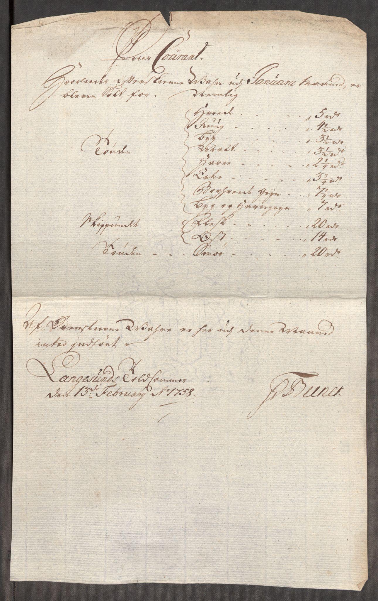 RA, Rentekammeret inntil 1814, Realistisk ordnet avdeling, Oe/L0006: [Ø1]: Priskuranter, 1758-1760, s. 209